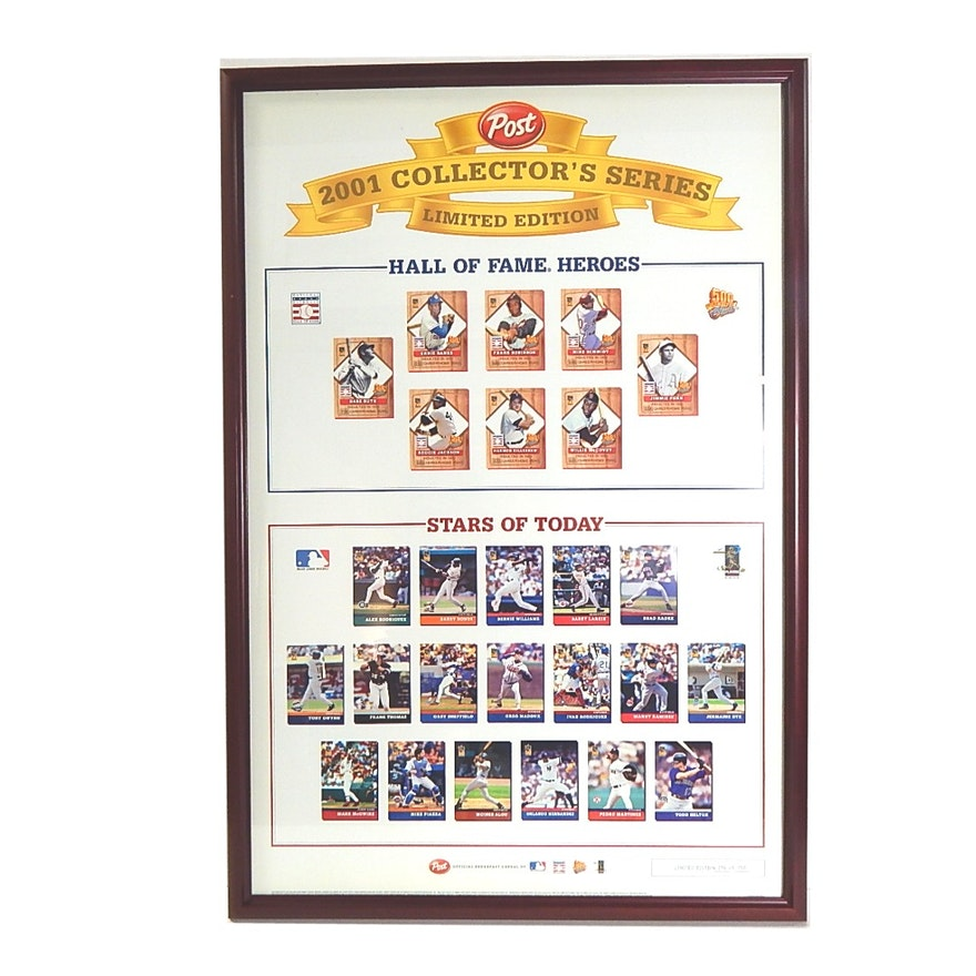 Framed 26x38 Limited Edition Post Baseball 2001 Collector\'s Series ...