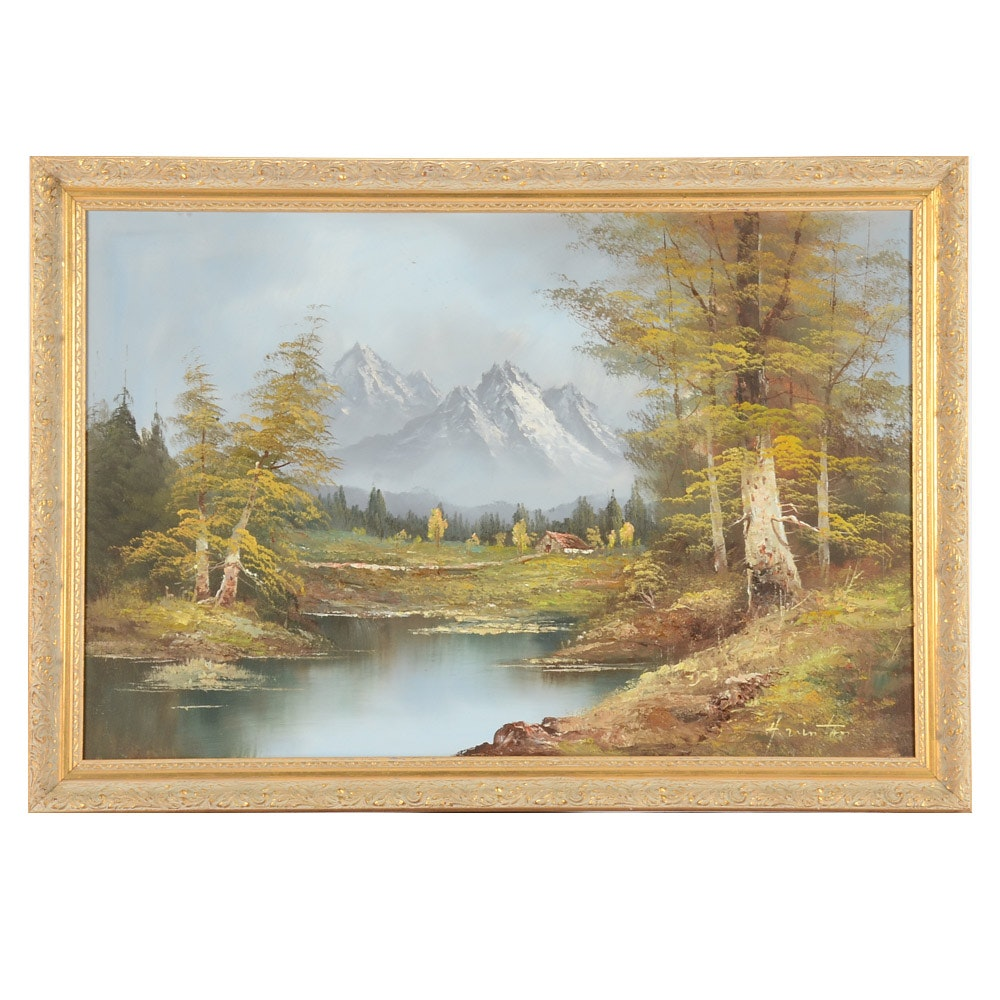 Signed Oil Painting on Canvas of Mountain Landscape