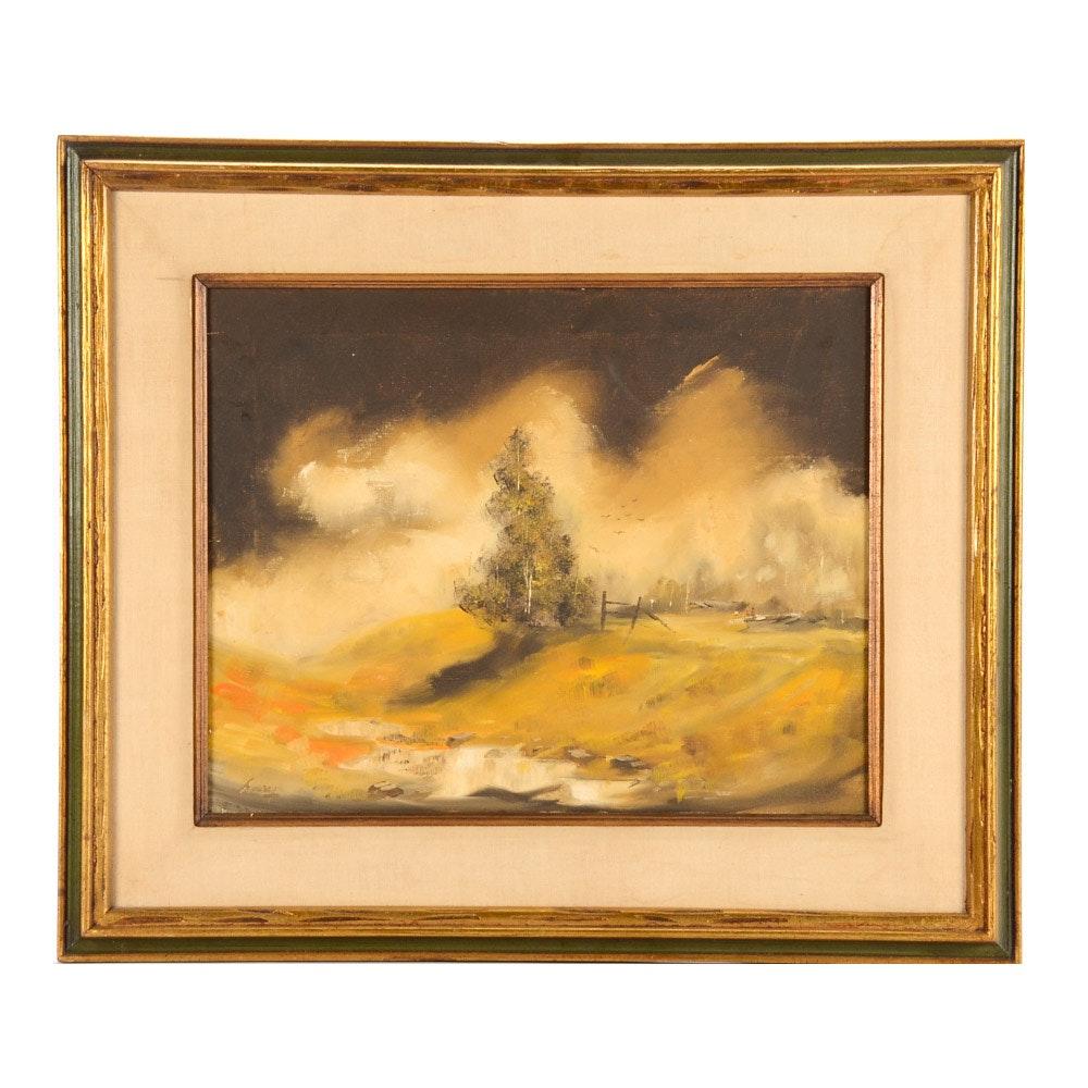 Tonalist Style Oil on Canvas Landscape Painting