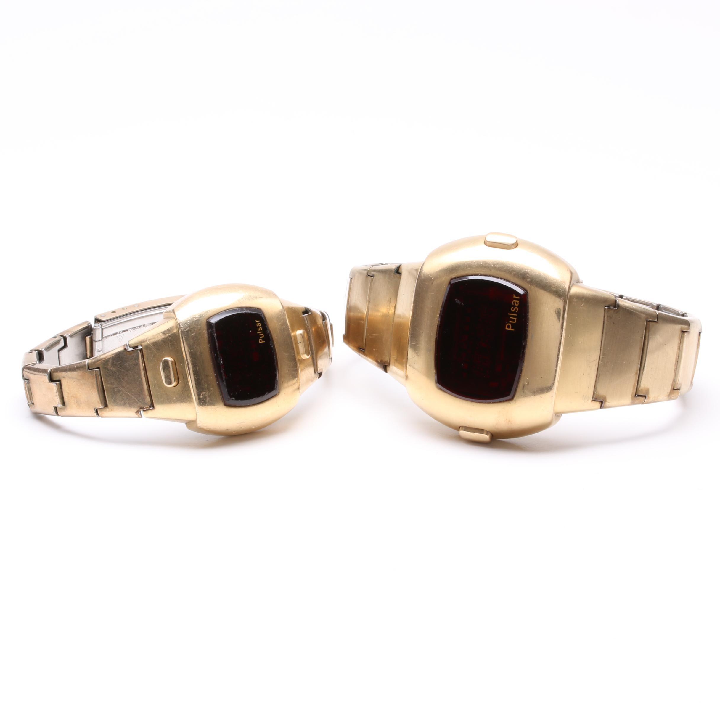 Pulsar Gold Tone L.E.D. Time Computer Wristwatch Selection