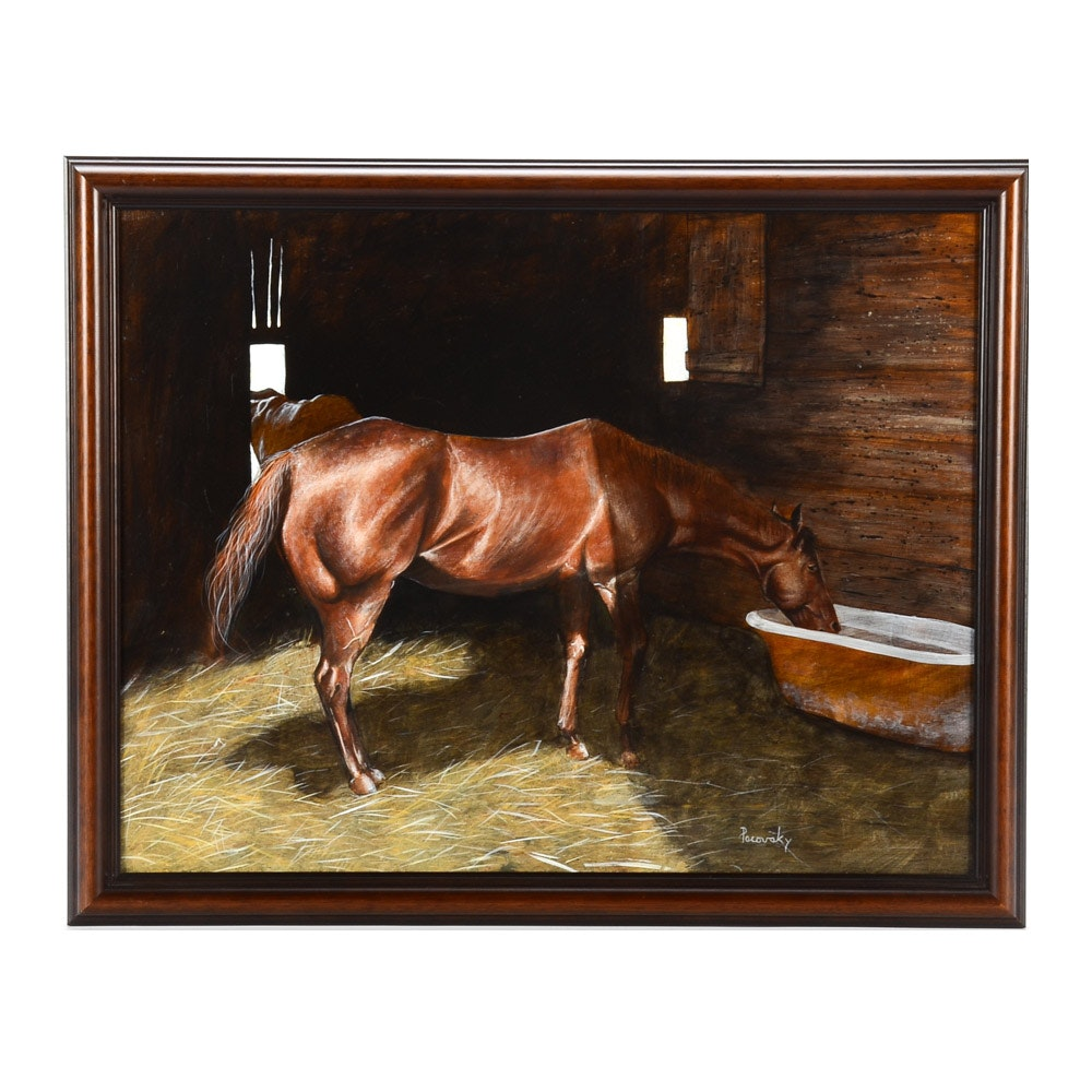 John Pacovsky Original Equine Portrait Oil on Board