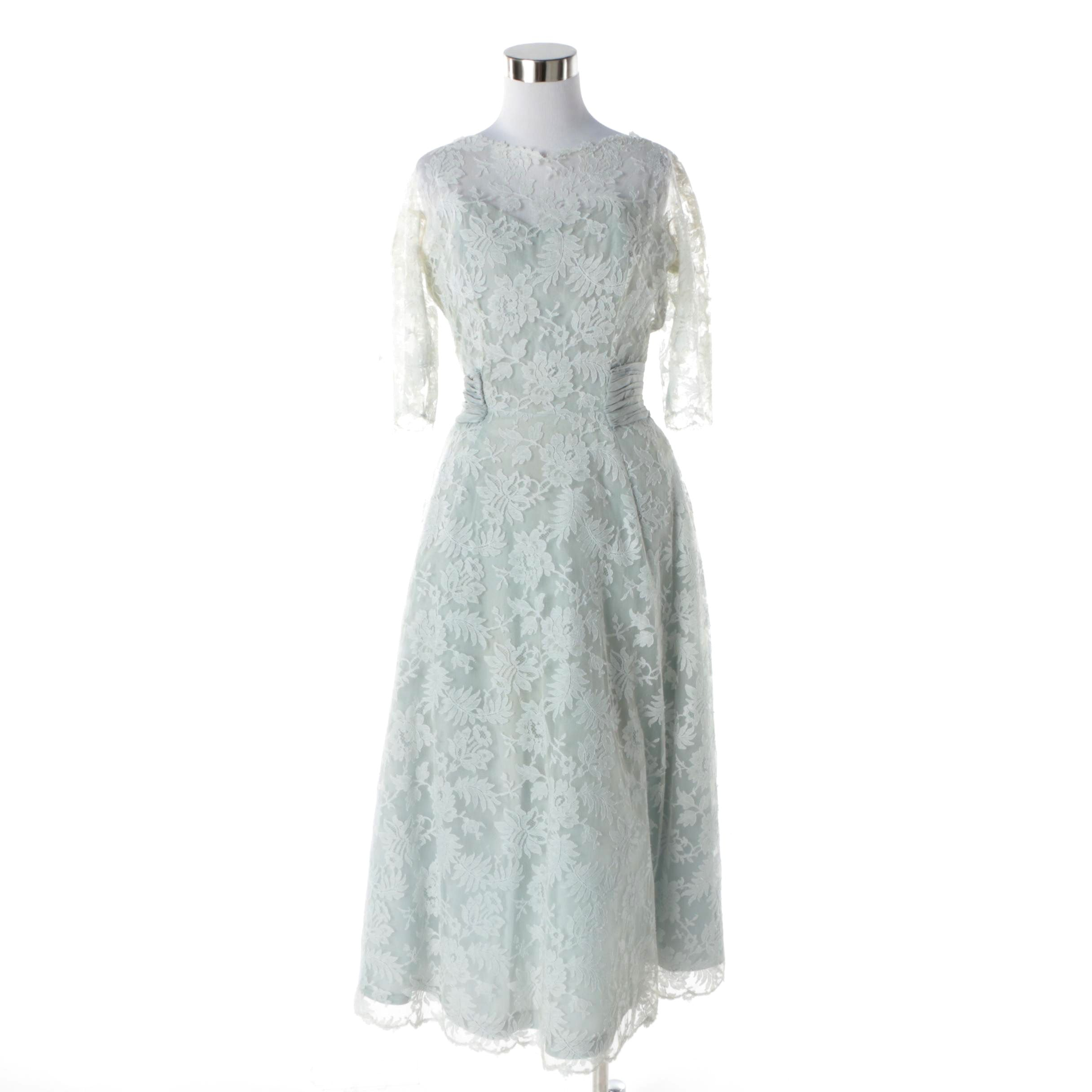 1950s Gothe of New York Blue Silk and Lace Cocktail Dress