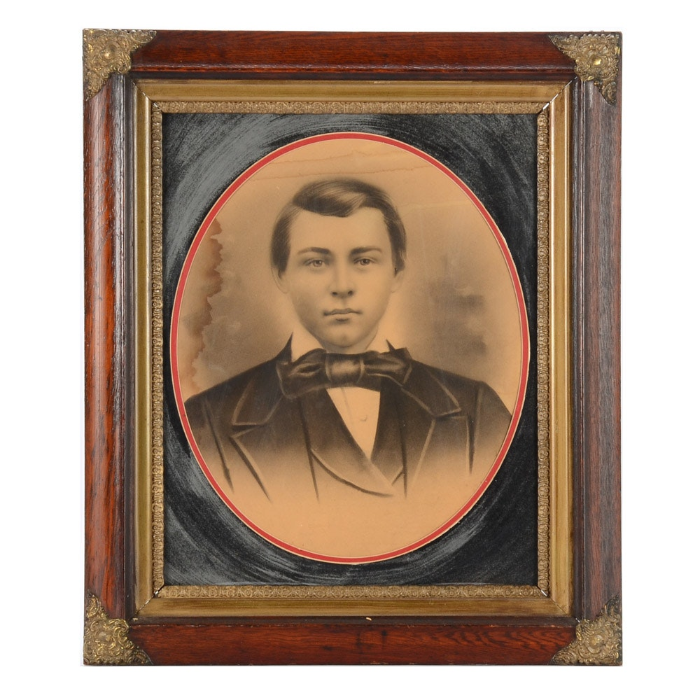 Antique Crayon Portrait of Young Man in Suit and Bow Tie