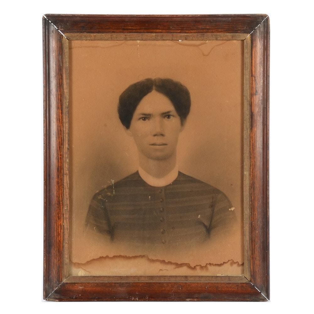 Antique Crayon Portrait of Woman