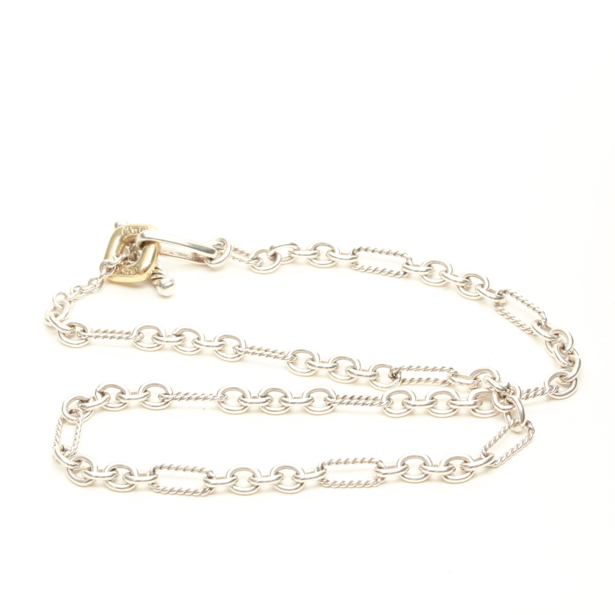 David Yurman Sterling Silver Figaro Chain Necklace with 18K Findings