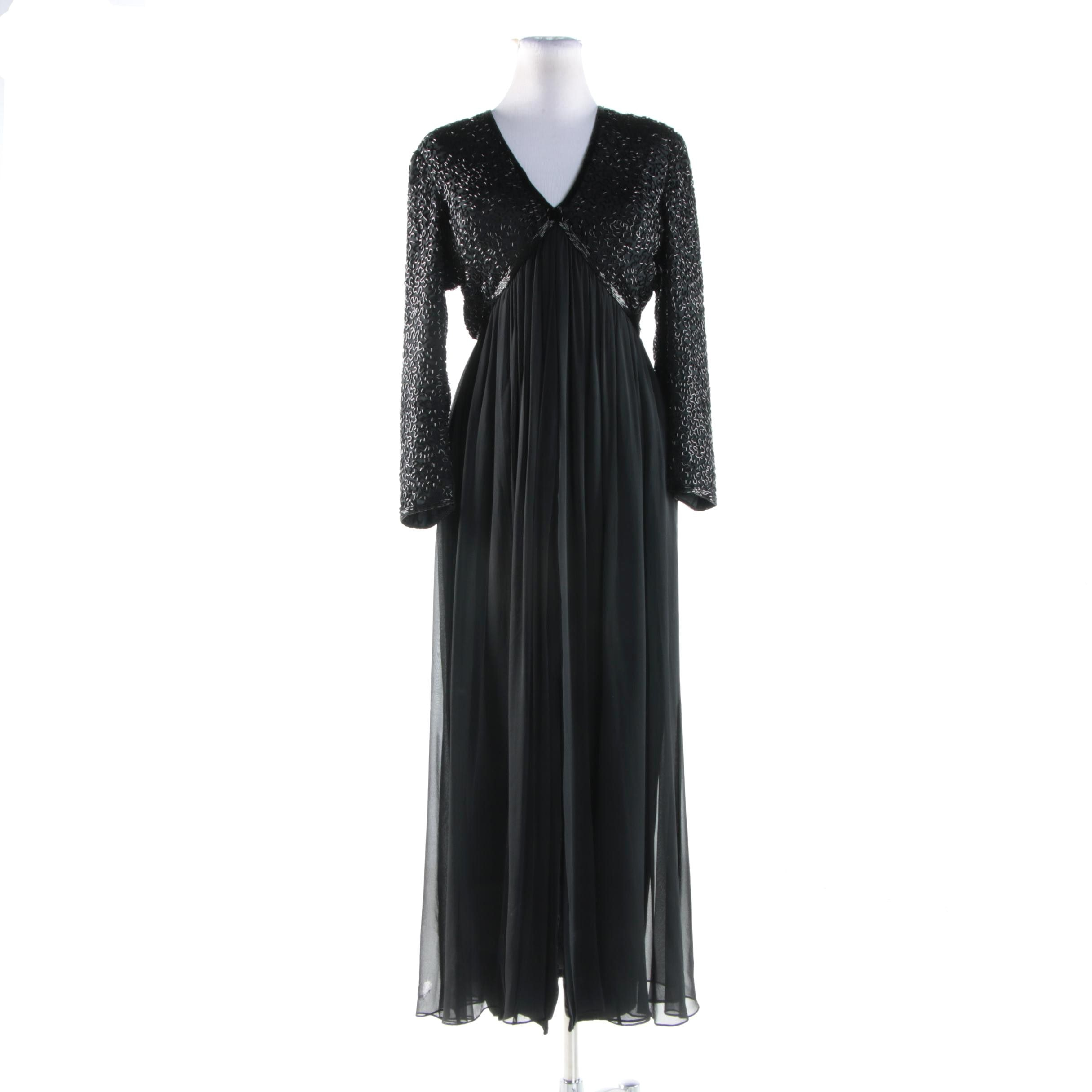 Stephen Yearick Black Maxi Evening Dress with Beaded Bodice and Chiffon Skirt