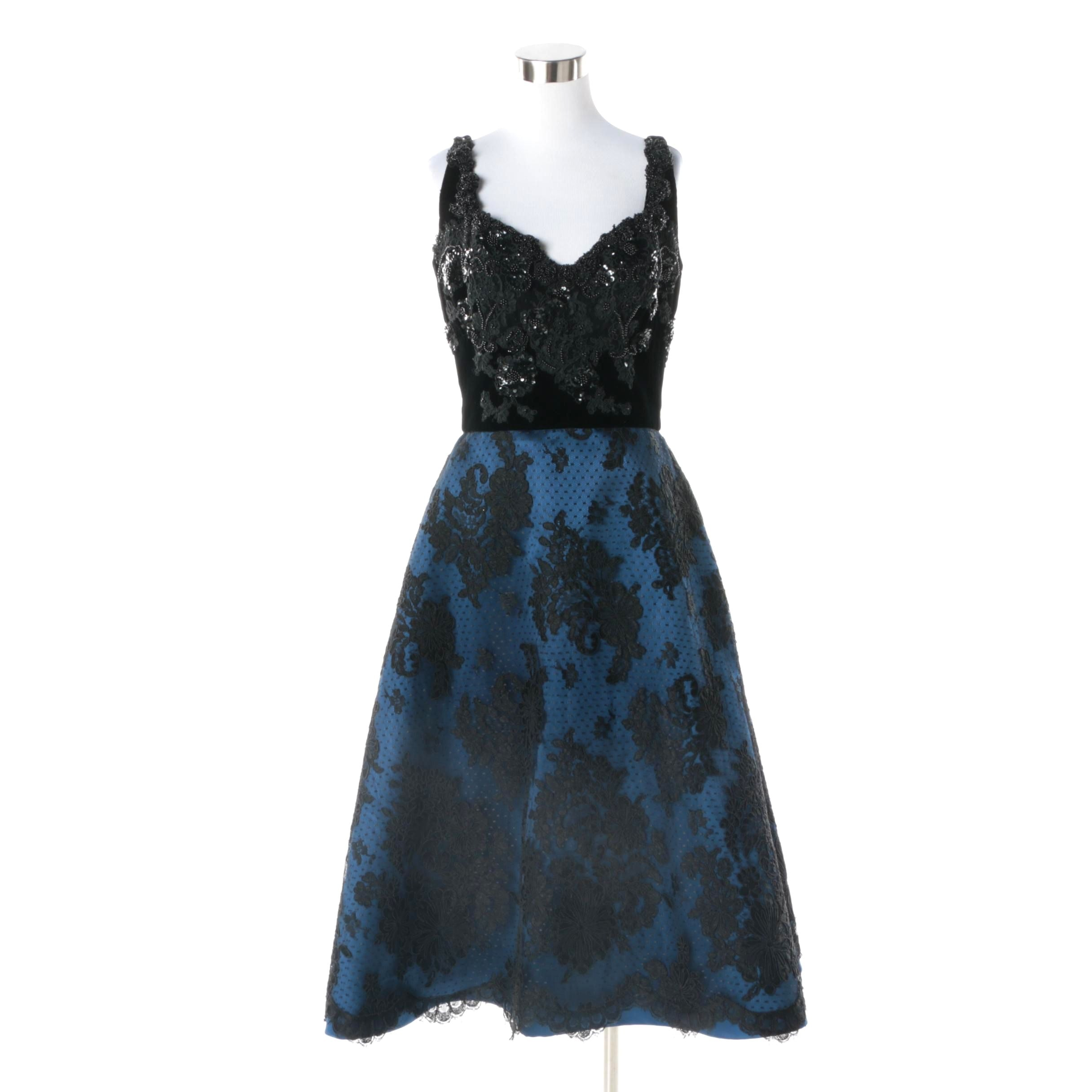 Vintage Custom Blue Satin and Black Floral Lace Beaded Sleeveless Evening Dress