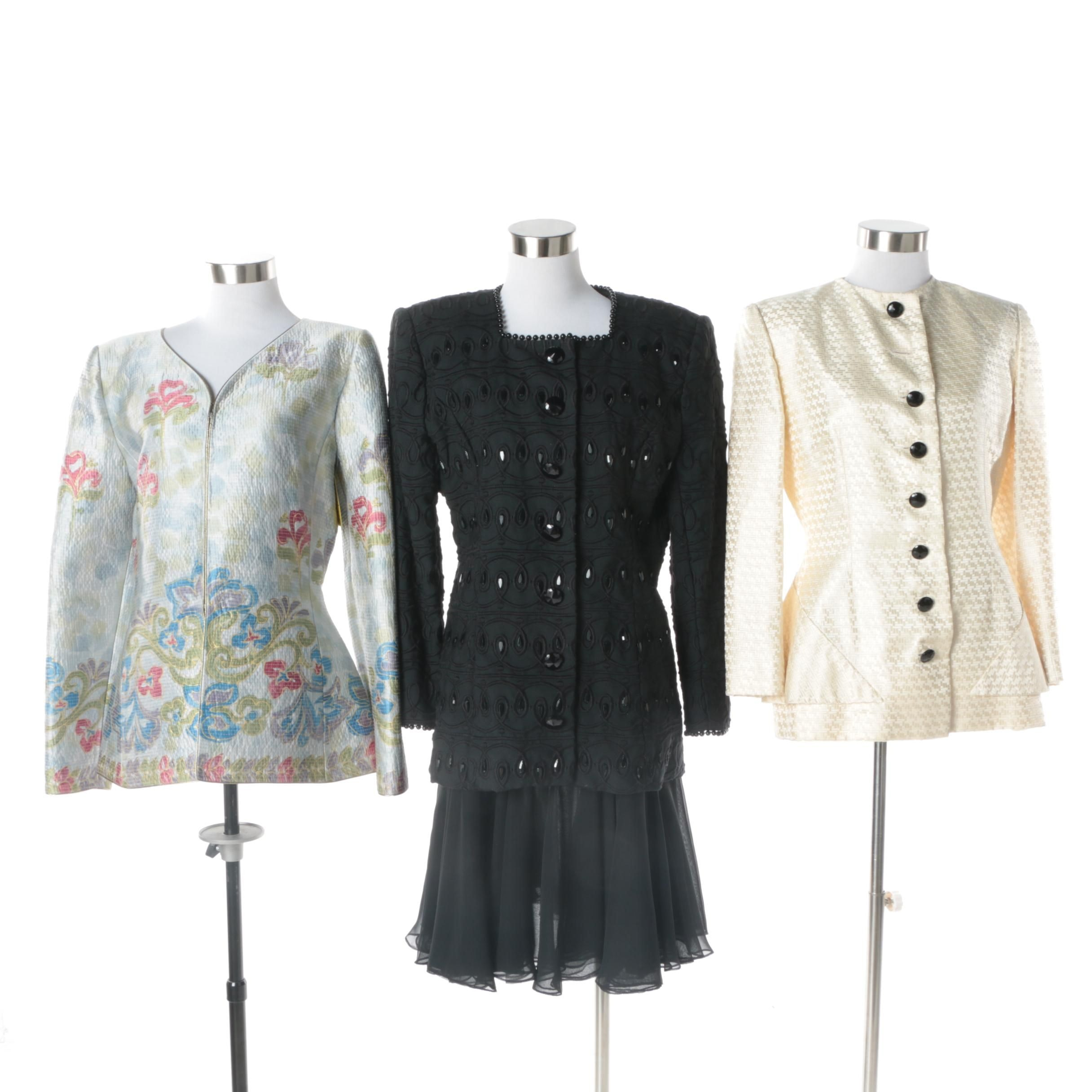 1980s Victor Costa Skirt Suit, Bill Blass and Mary McFadden Jackets with Silk
