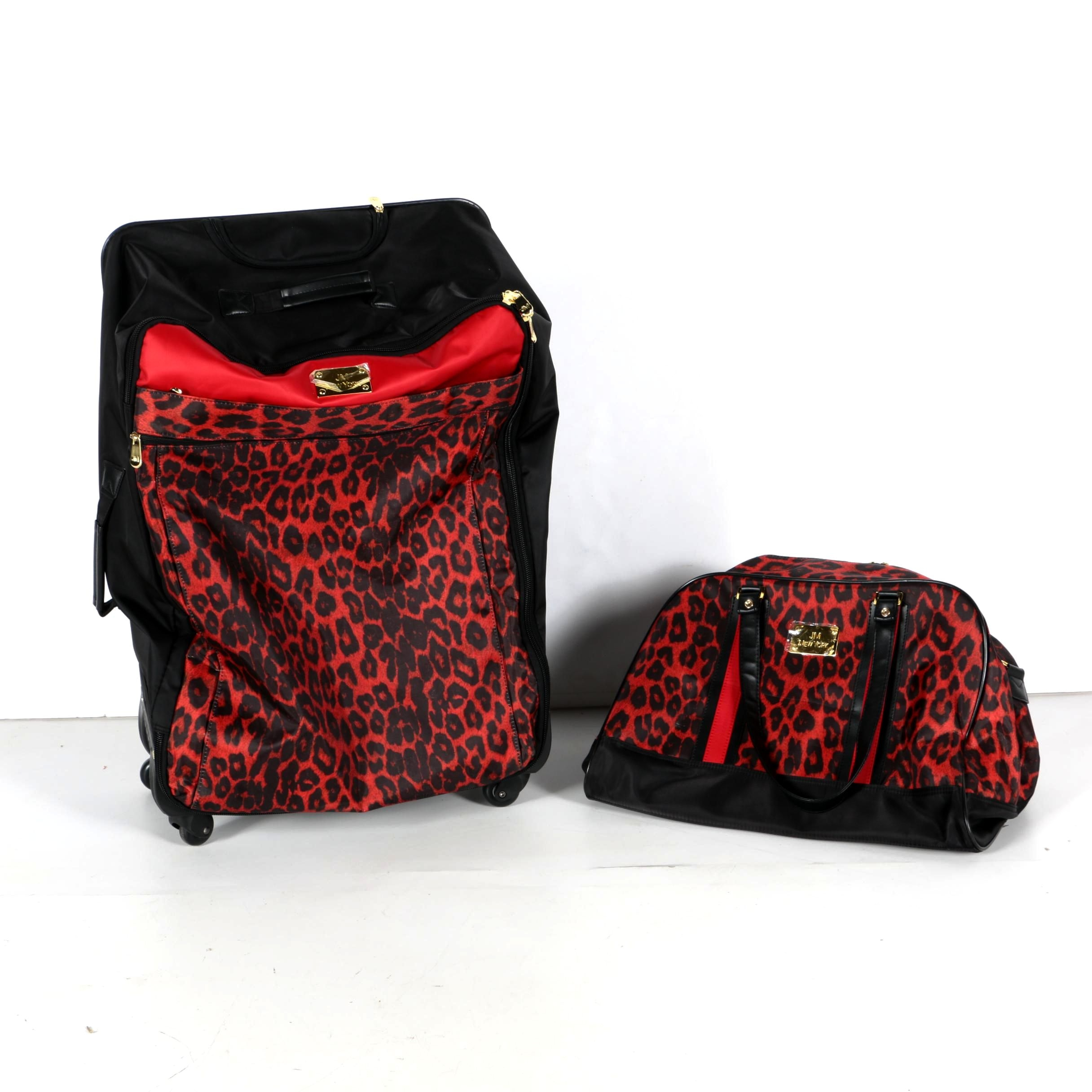 JM New York Red and Black Suitcase with Matching Duffel in Animal Print Accent