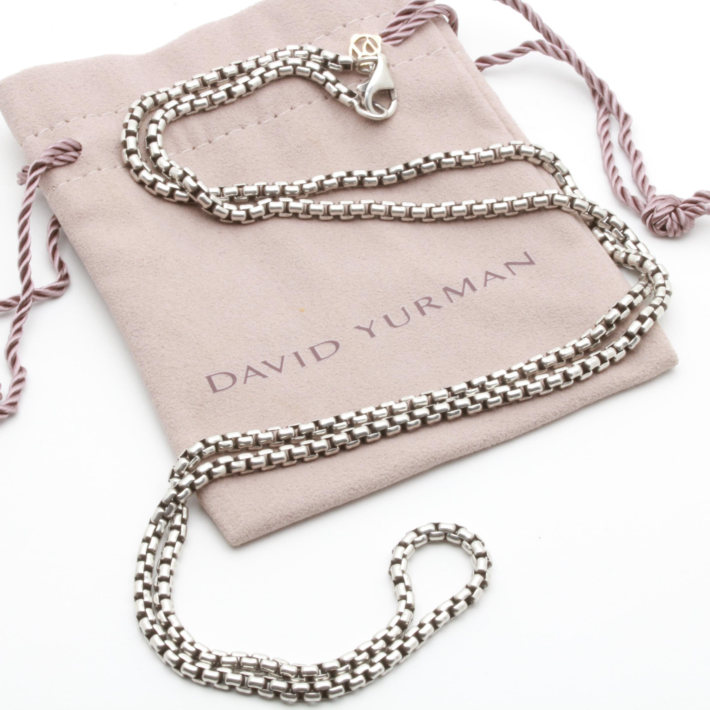 David Yurman Sterling Silver Box Chain Necklace with 18K Gold Hang Tag