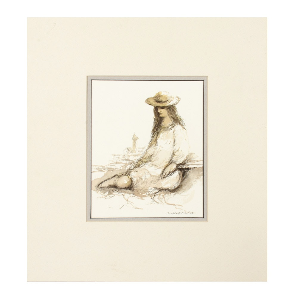 Robert Fabe Original Ink Wash Drawing of a Figure