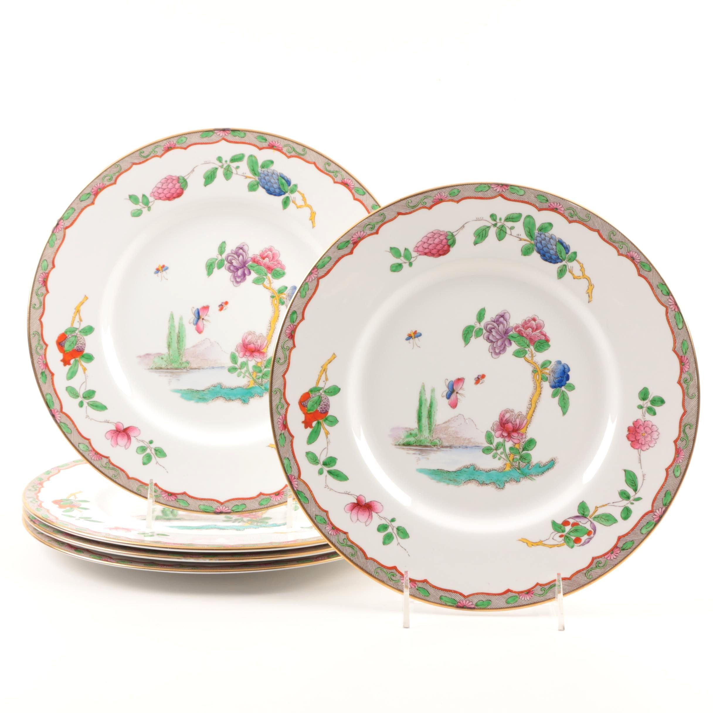 "Set of Five Spode Porcelain ""Pekin"" Dinner Plates"