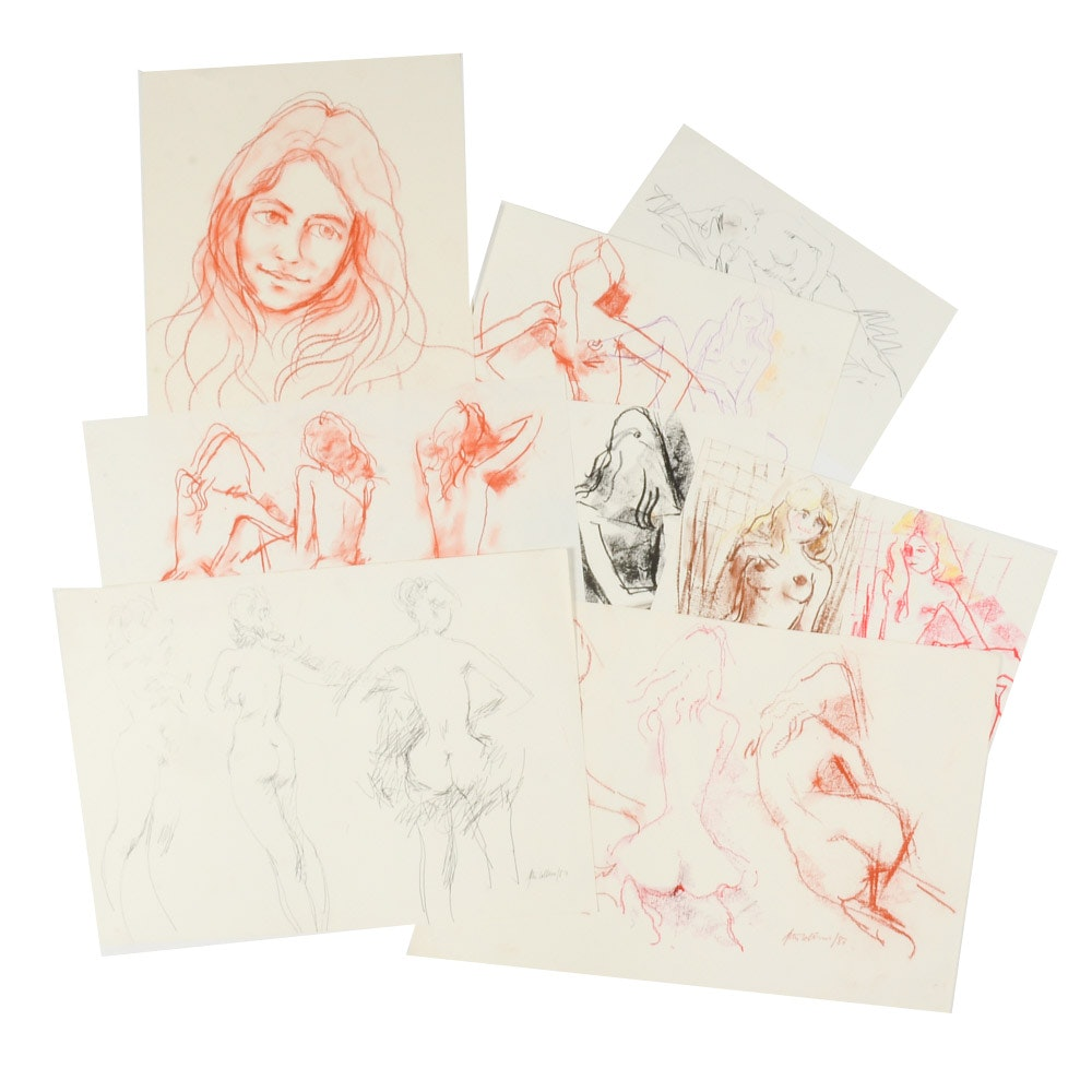 Collection of Peter Collins Nude Figure Drawings