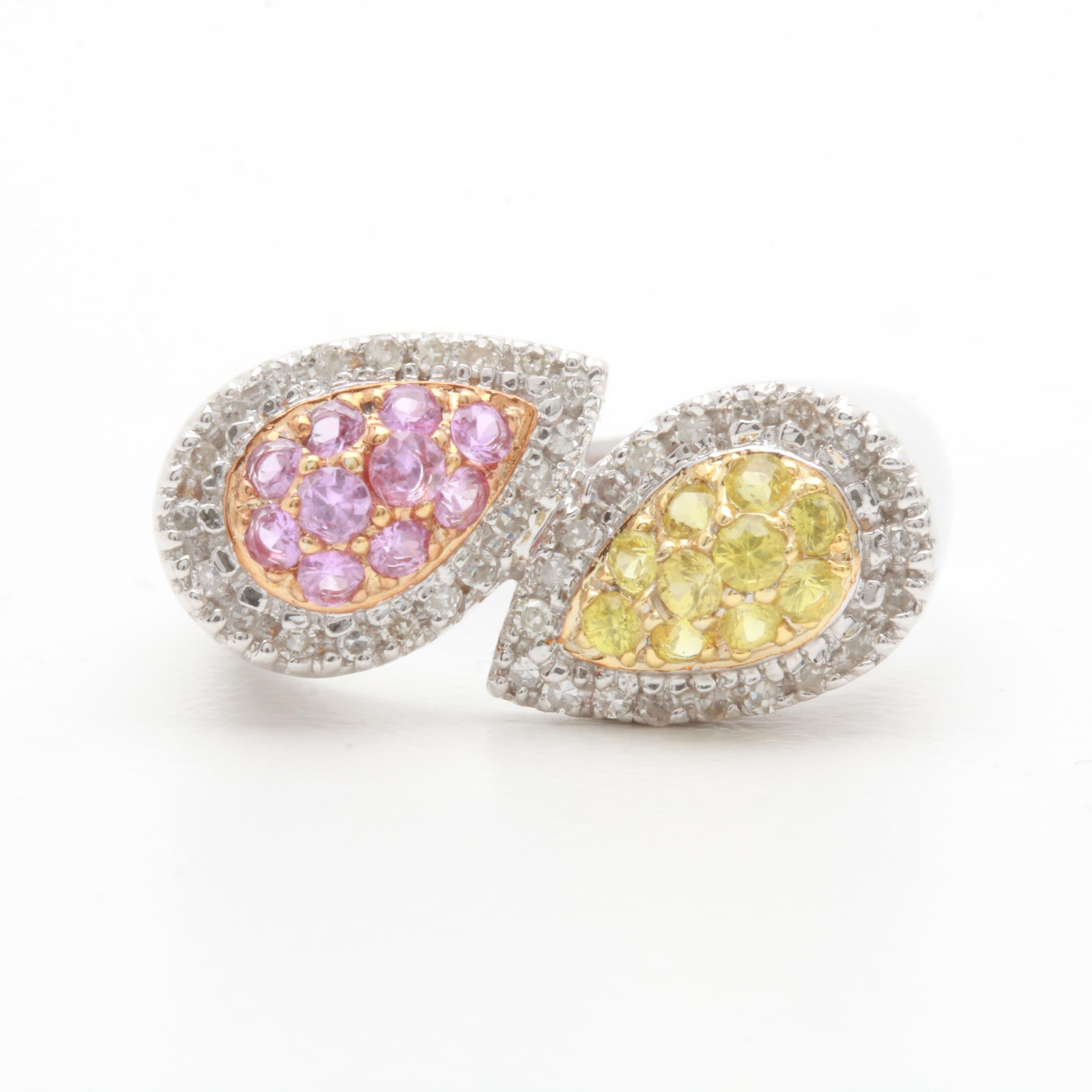 14K White Gold Pink Sapphire, Yellow Sapphire, and Diamond Ring
