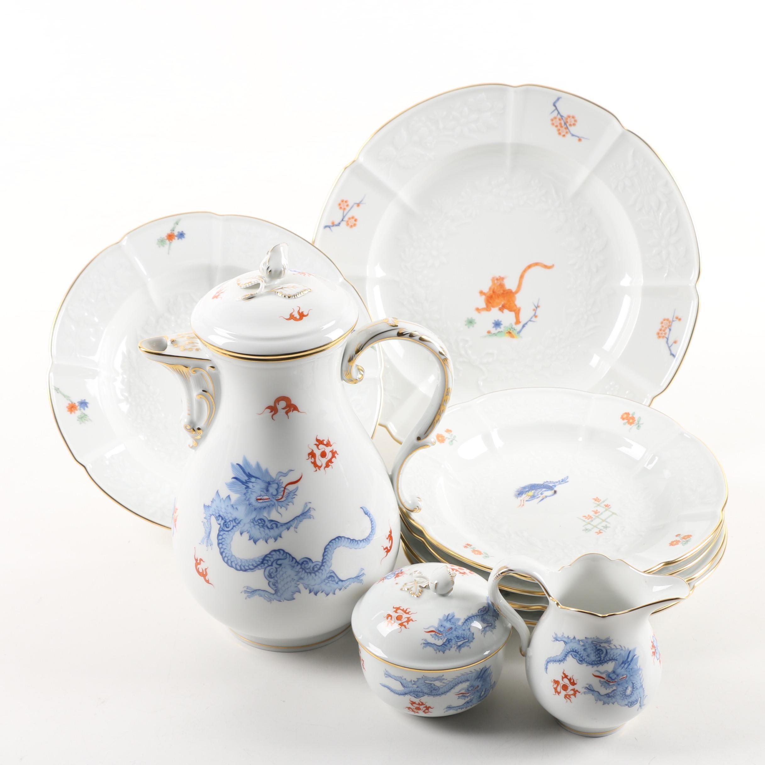 "Meissen Hand-Painted Porcelain Tableware Including ""Ming Dragon"""