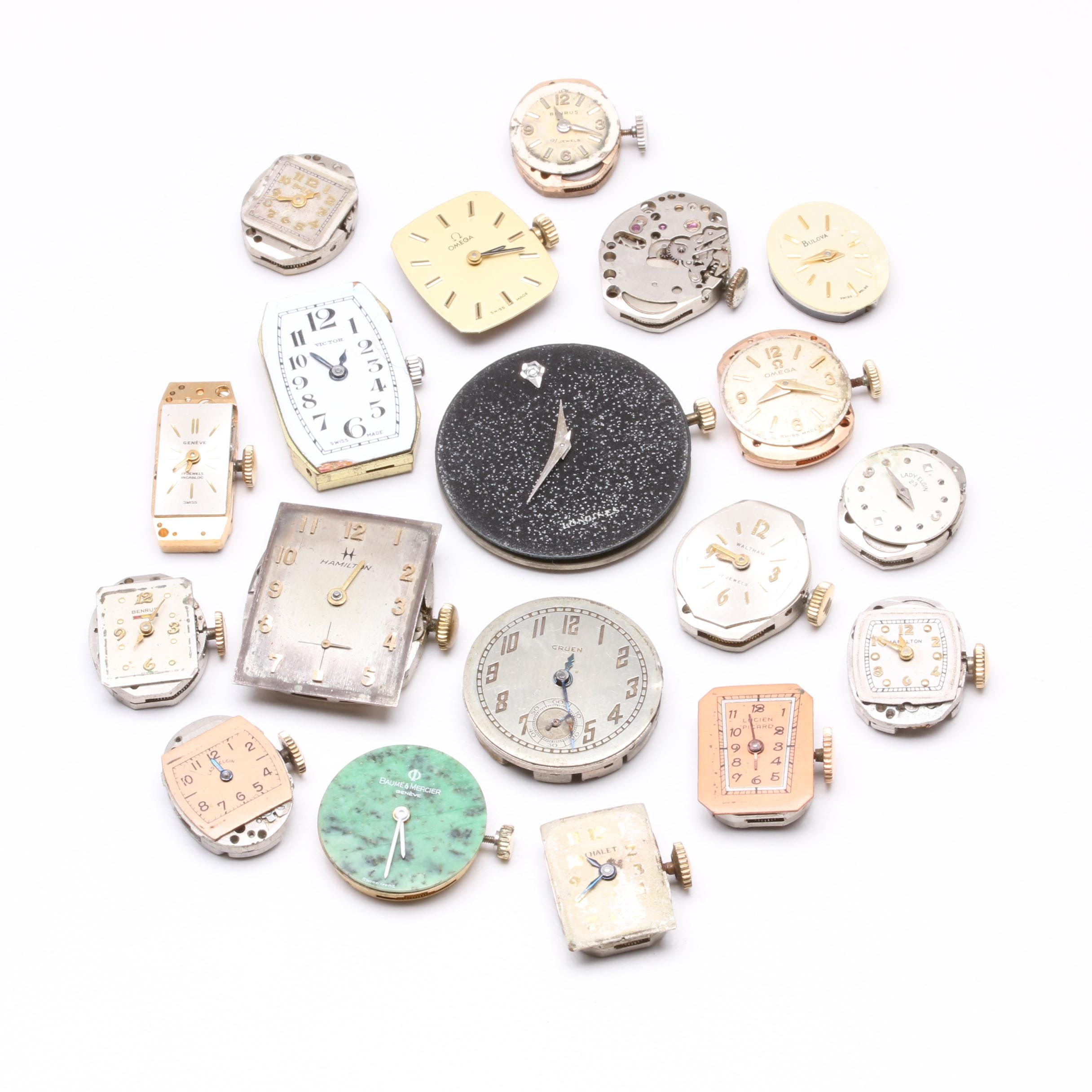 Watch Movement Assortment Including Bulova, Benrus, and Hamilton
