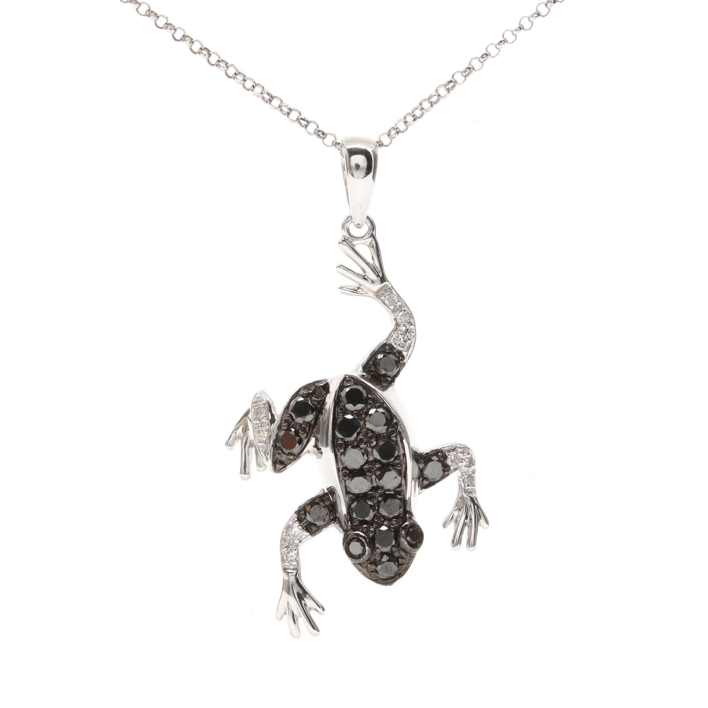 14K White Gold Diamond Frog Pendant Necklace