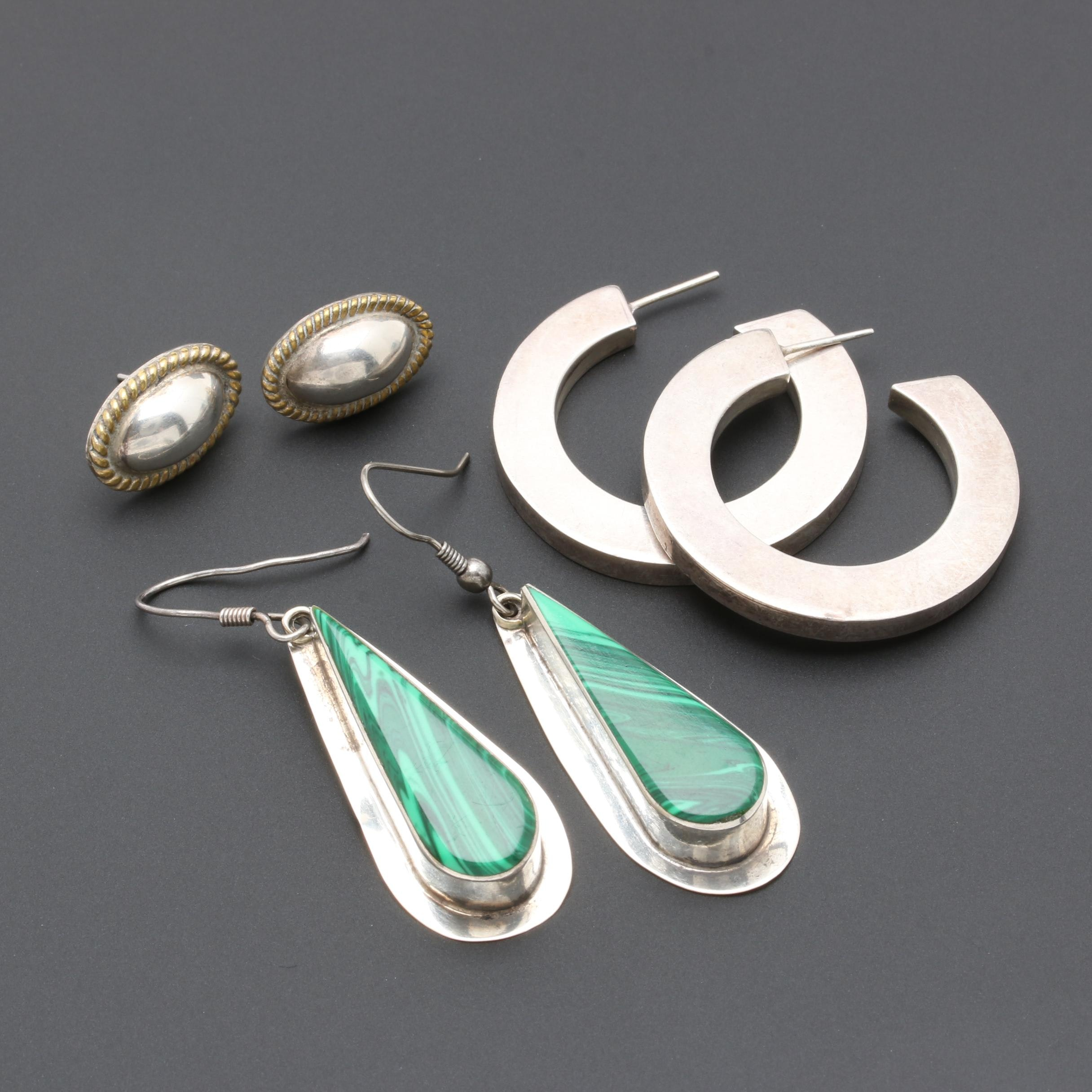 Sterling Silver Earrings Including Imitation Malachite and Taxco Pieces