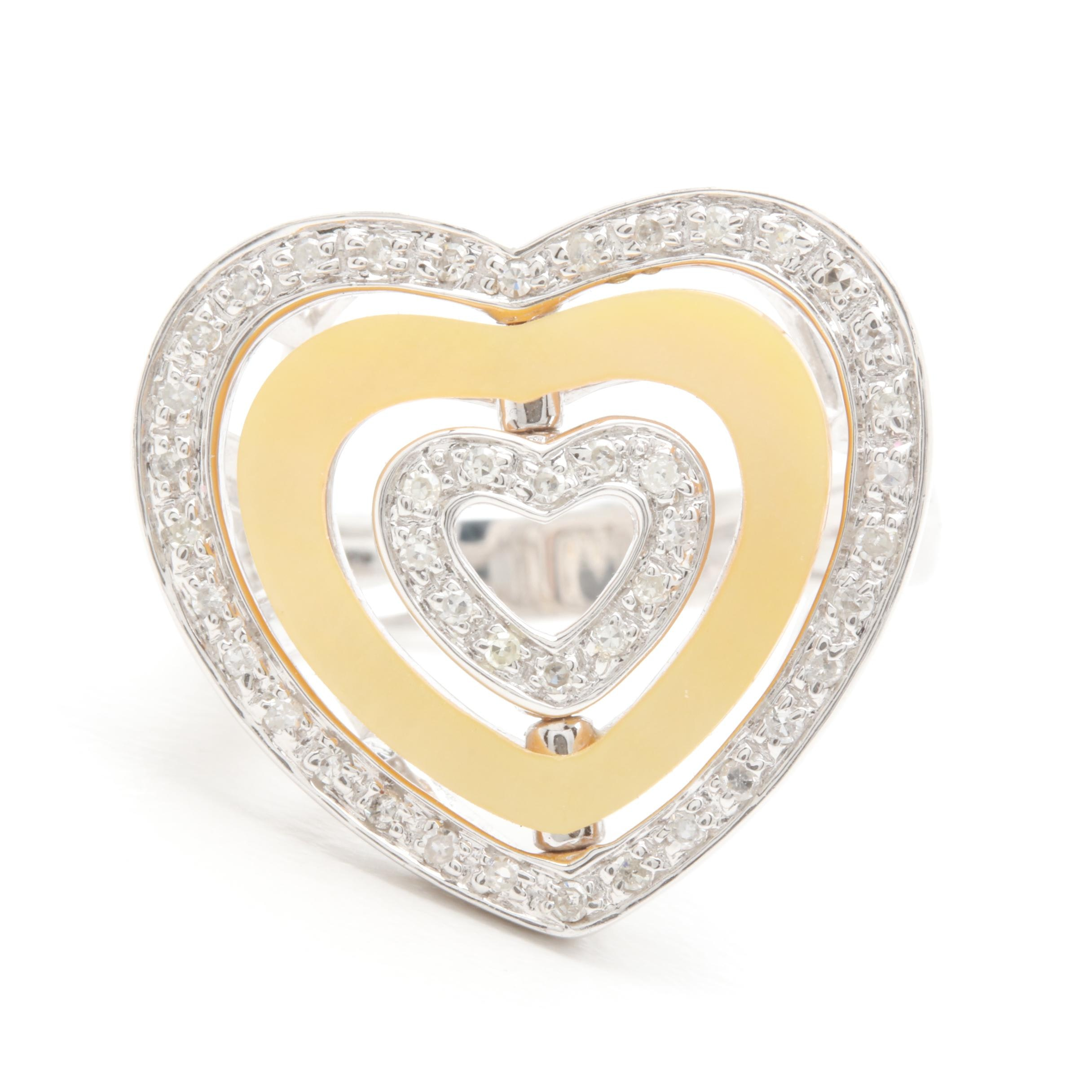 14K White Gold Diamond and Mother of Pearl Triple Heart Ring