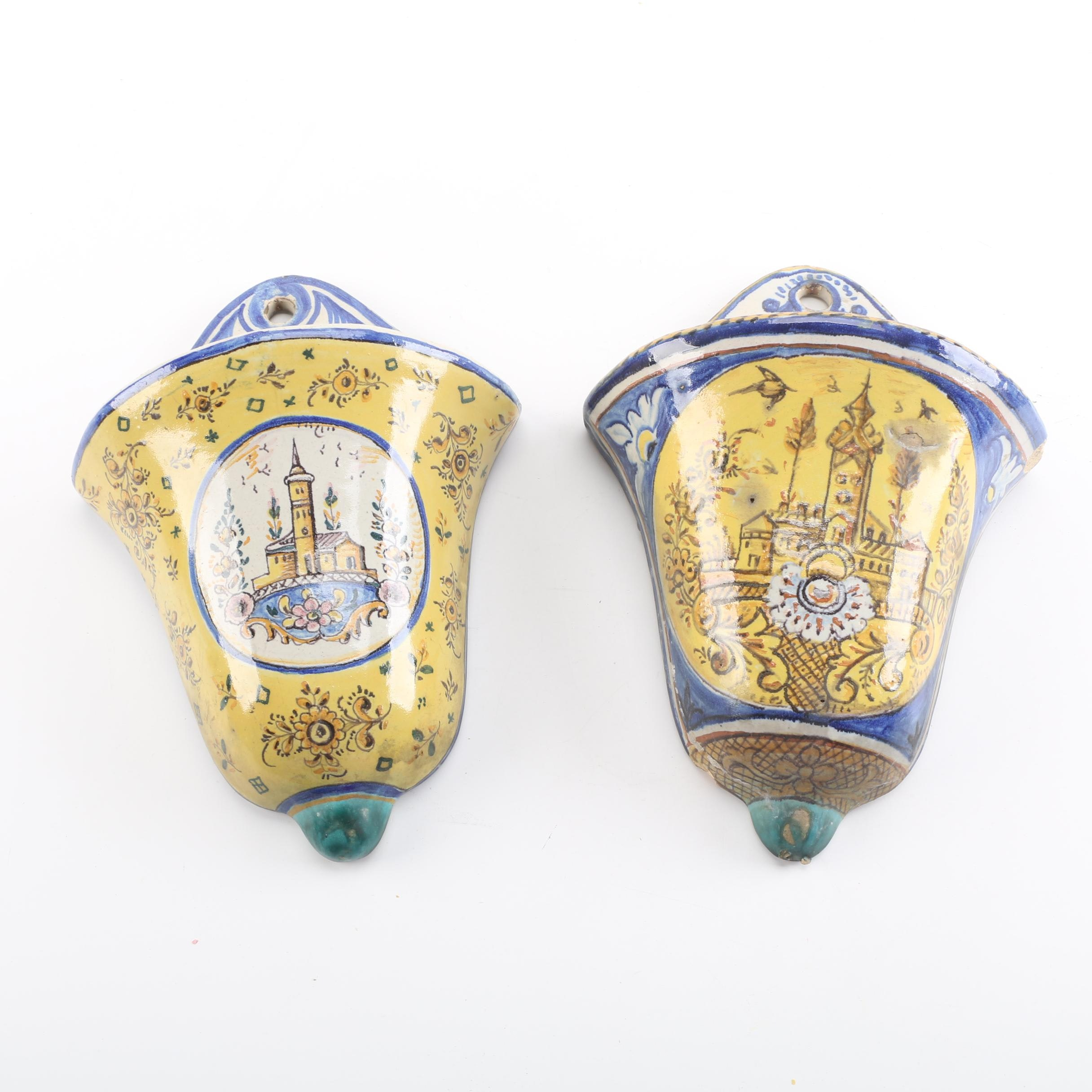 Pair of Faience Ceramic Wall Pockets