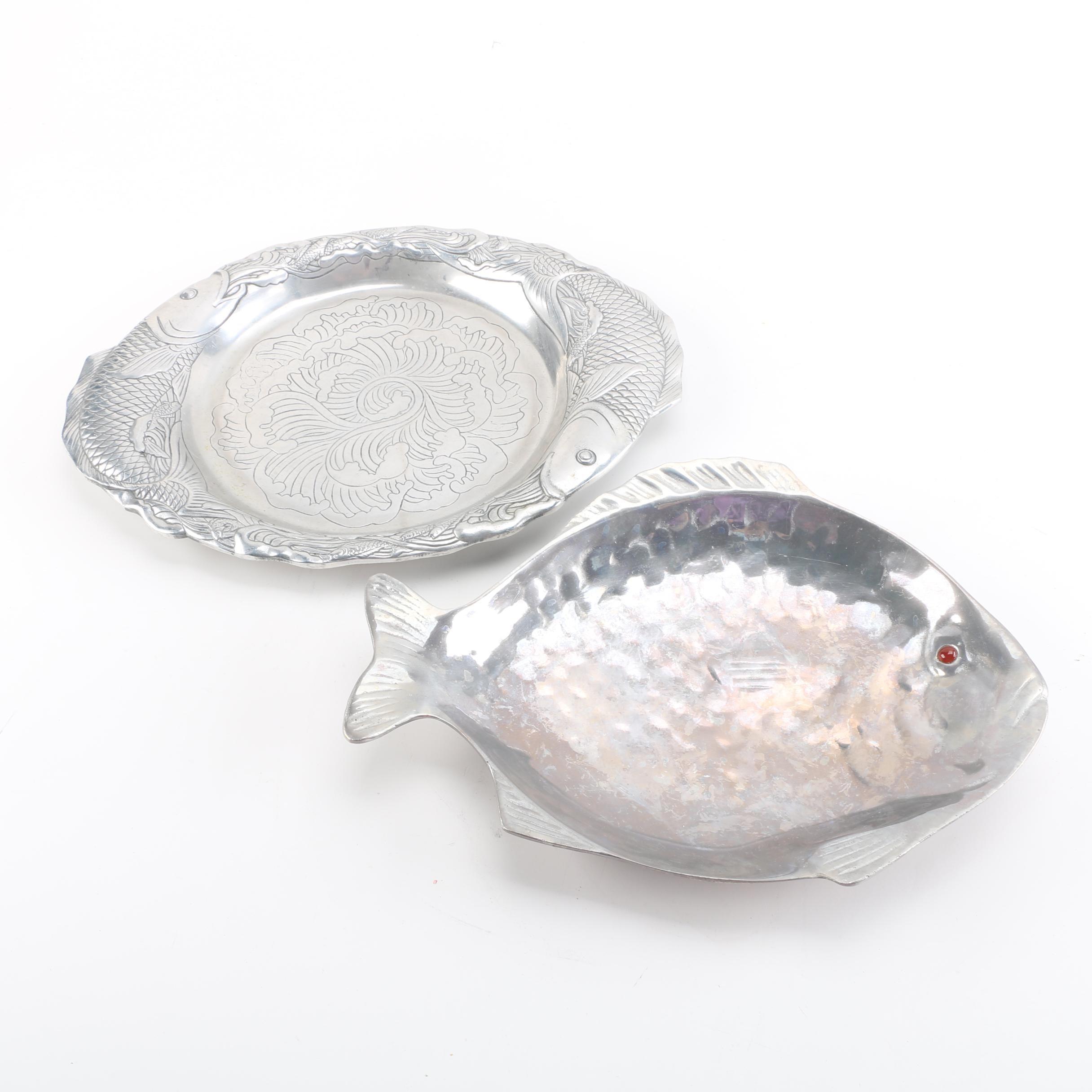 Arthur Court Fish Themed Aluminum Serving Platter and Bowl