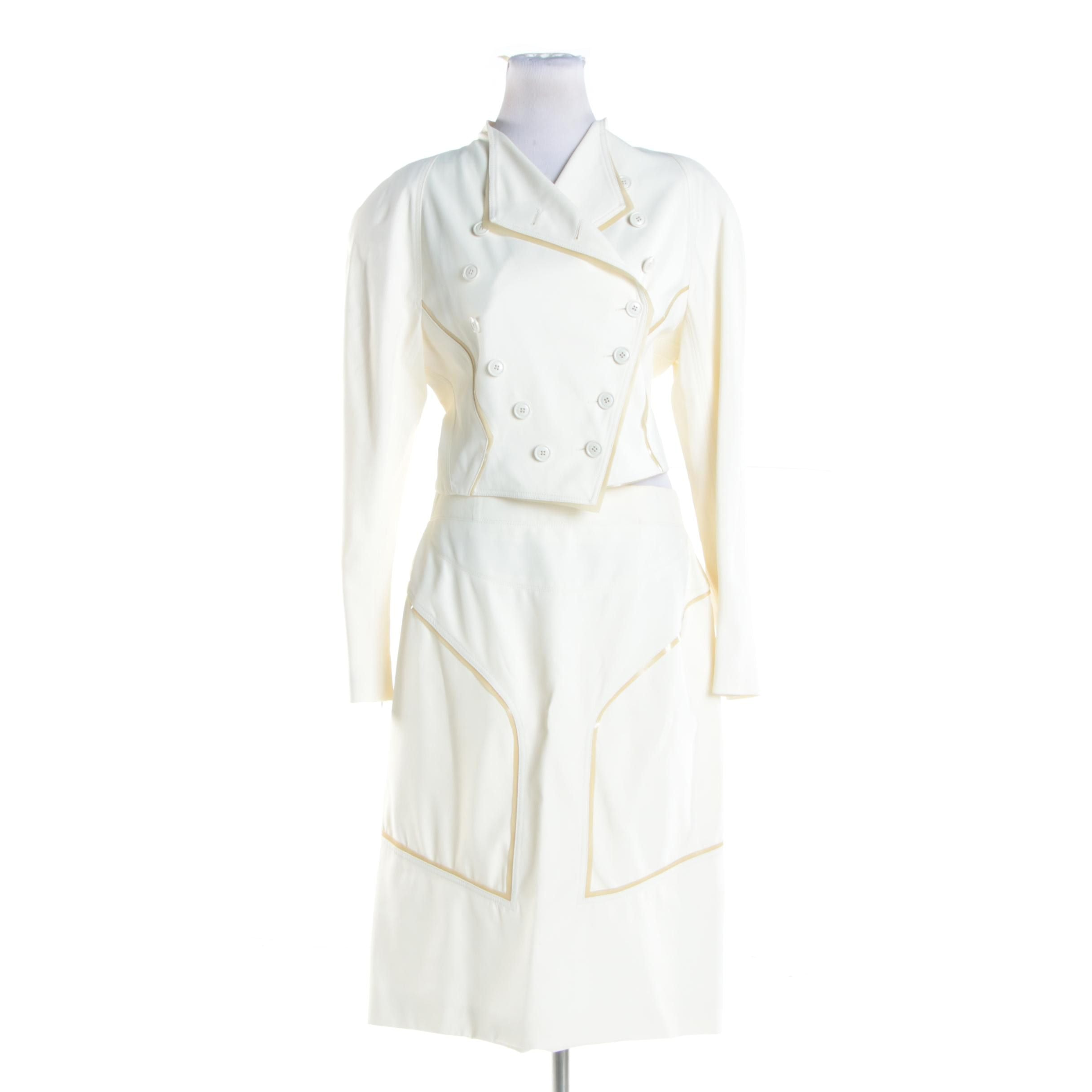 Late 1990s Balenciaga of Paris Structured Cream Skirt Suit
