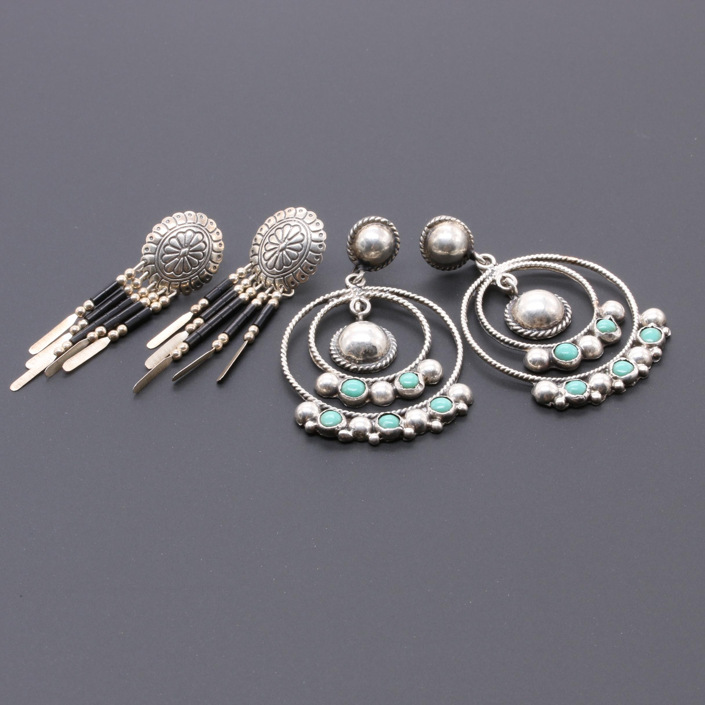Sterling Silver Mexican Turquoise and Southwestern Style Imitation Onyx Earrings