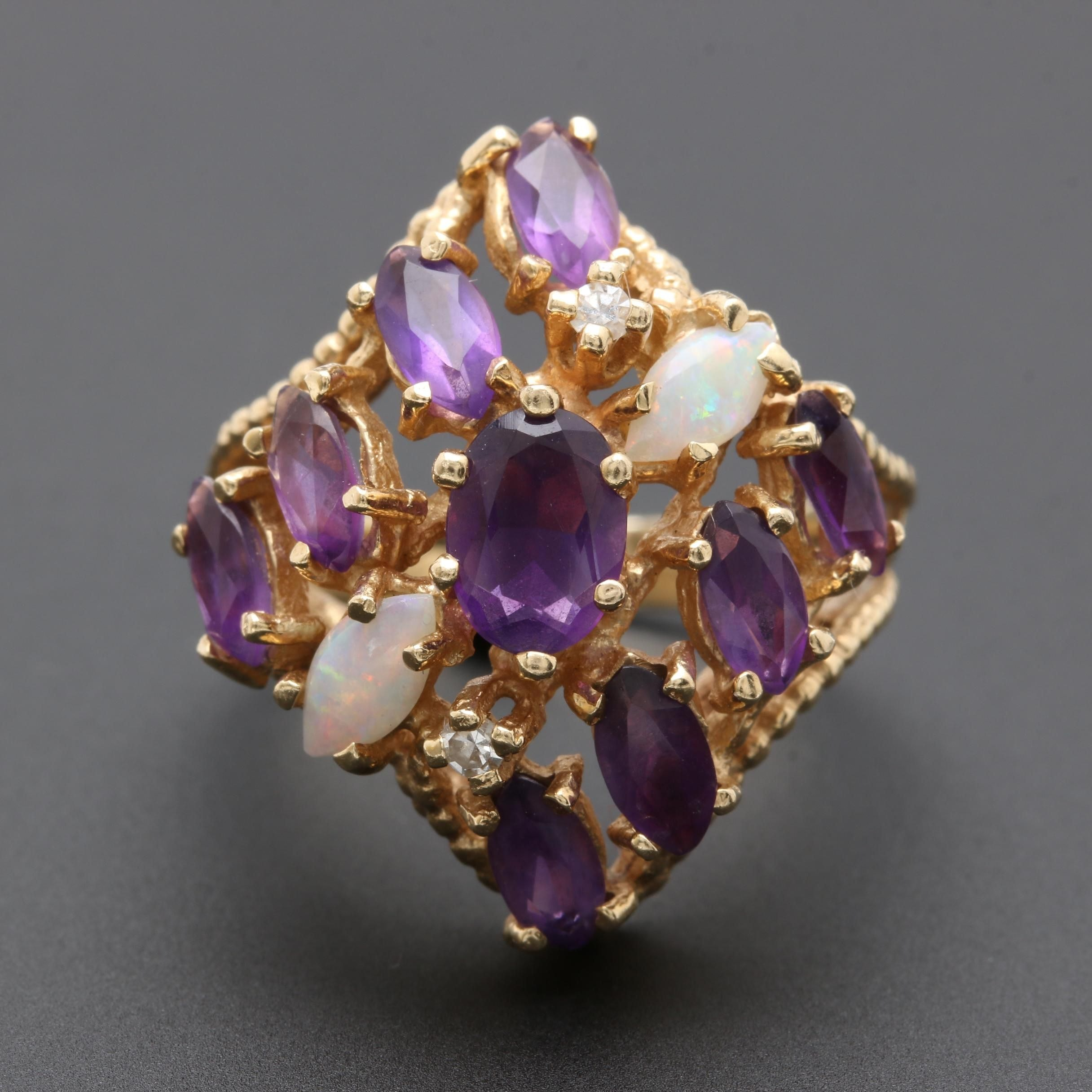 14K Yellow Gold Amethyst, Opal, and Diamond Ring