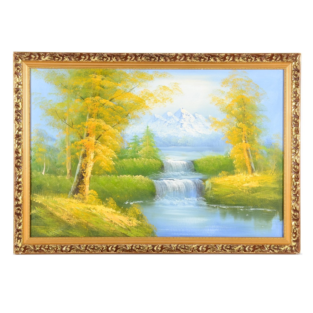 Original Oil Painting on Canvas of Mountain Landscape