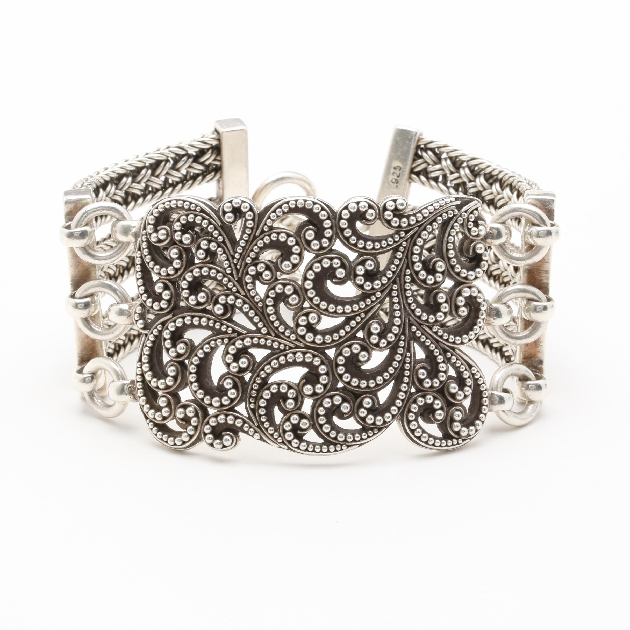 "Lois Hill ""Classic Collection"" Sterling Silver Textile Weave Bracelet"
