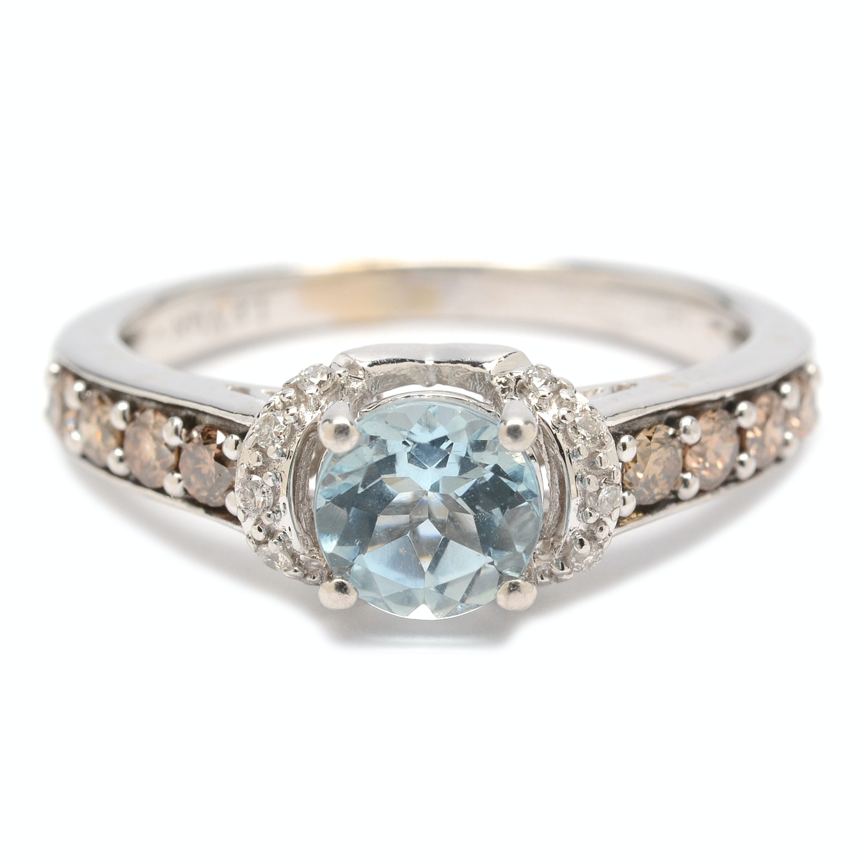 LeVian 14K White Gold Aquamarine and Diamond Ring