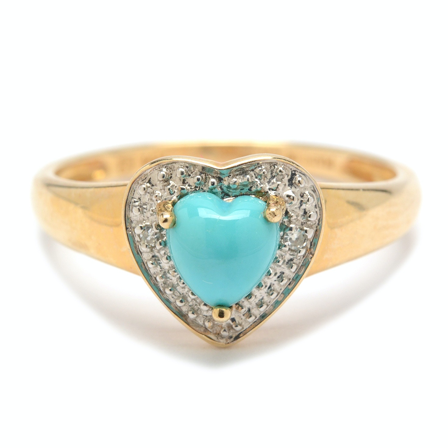 14K Yellow Gold Turquoise and Diamond Ring