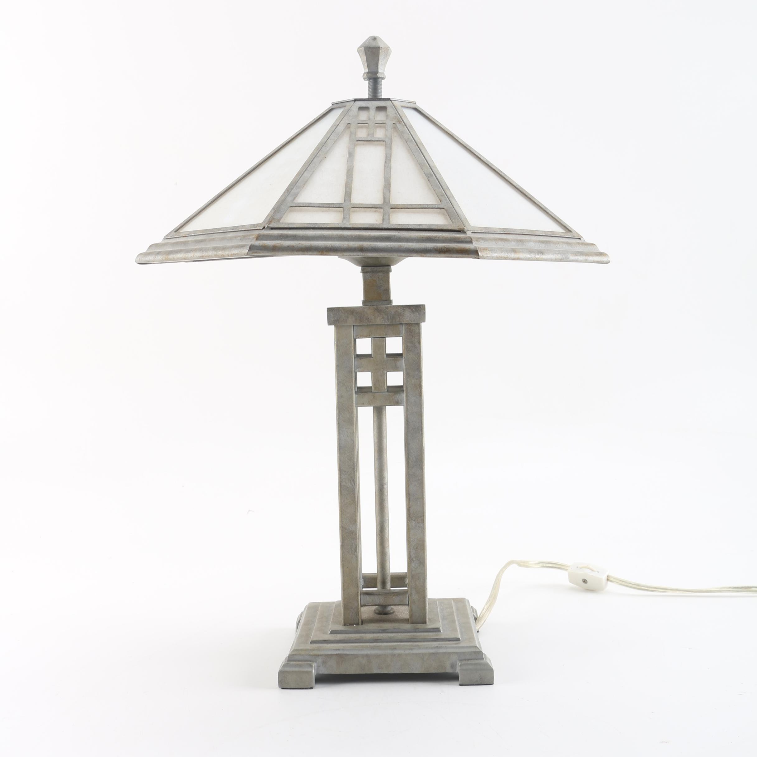 Contemporary Arts and Crafts Style Table Lamp with Glass and Metal Shade