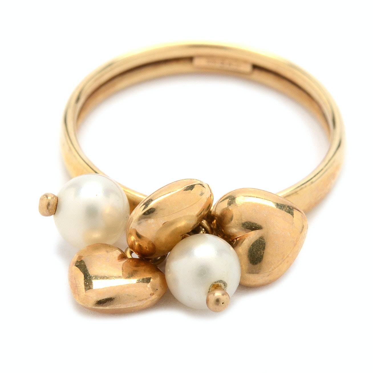 14K Yellow Gold Cultured Pearl and Heart Charm Ring