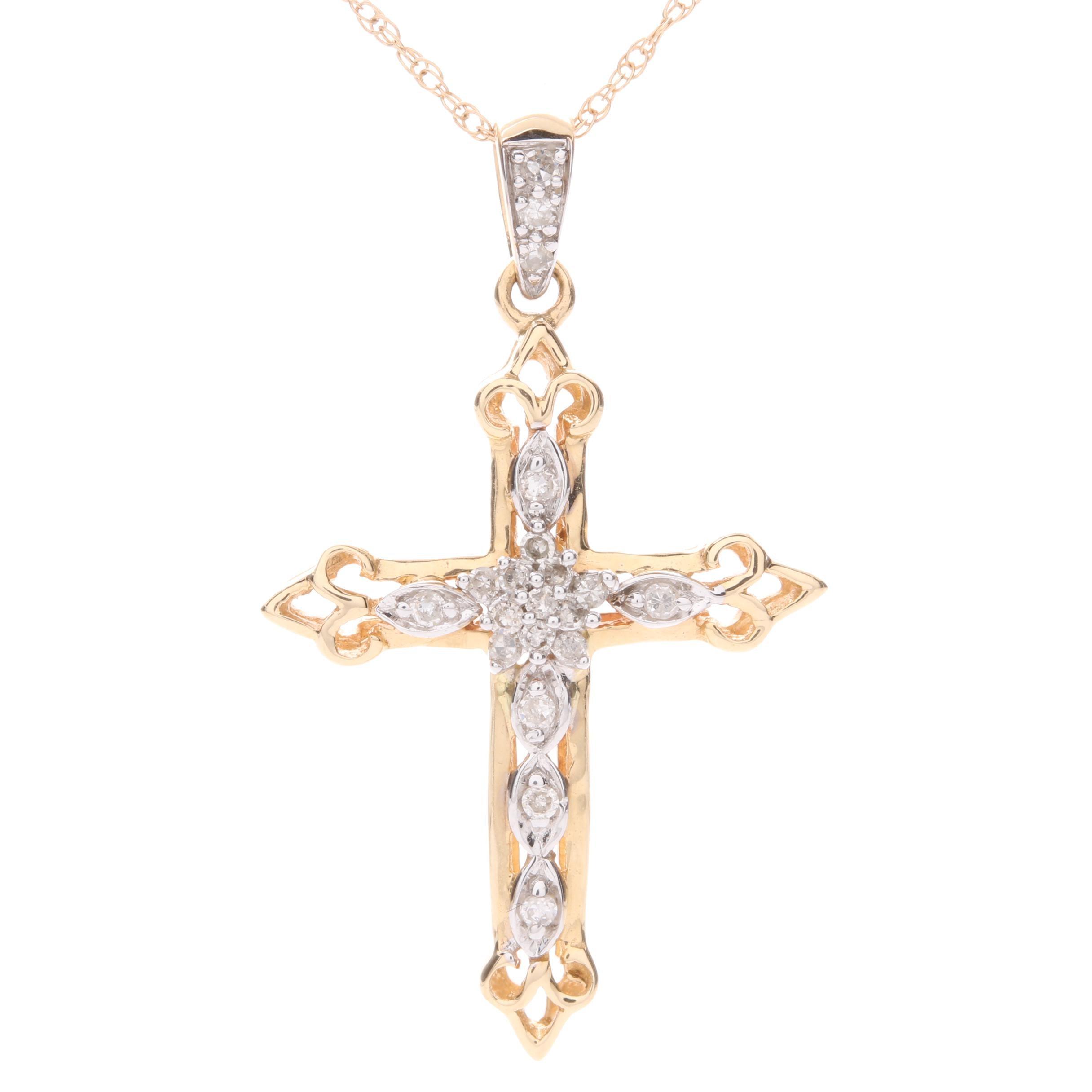 14K Yellow Gold Diamond Cross Pendant Neckalce