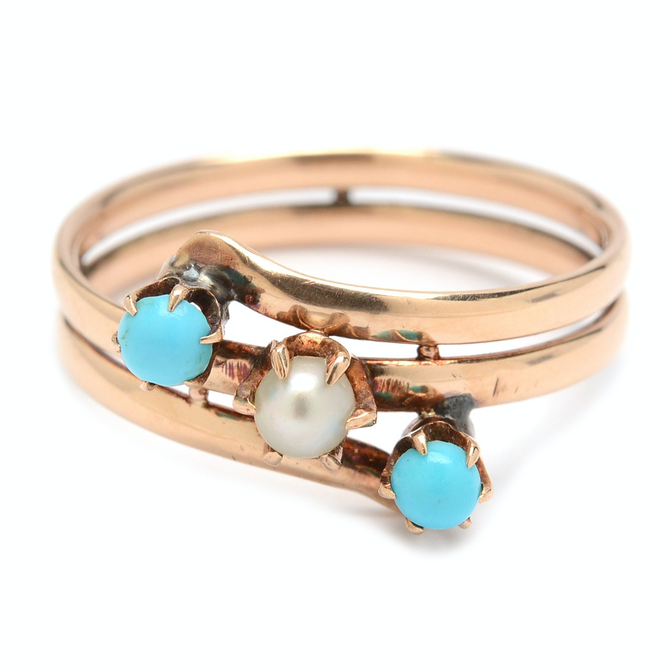 14K Yellow Gold Cultured Pearl and Turquoise Ring