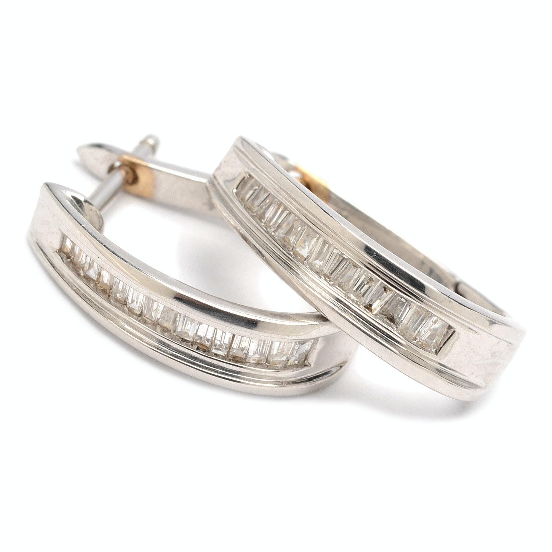 14K White Gold Diamond Oval Hoop Earrings