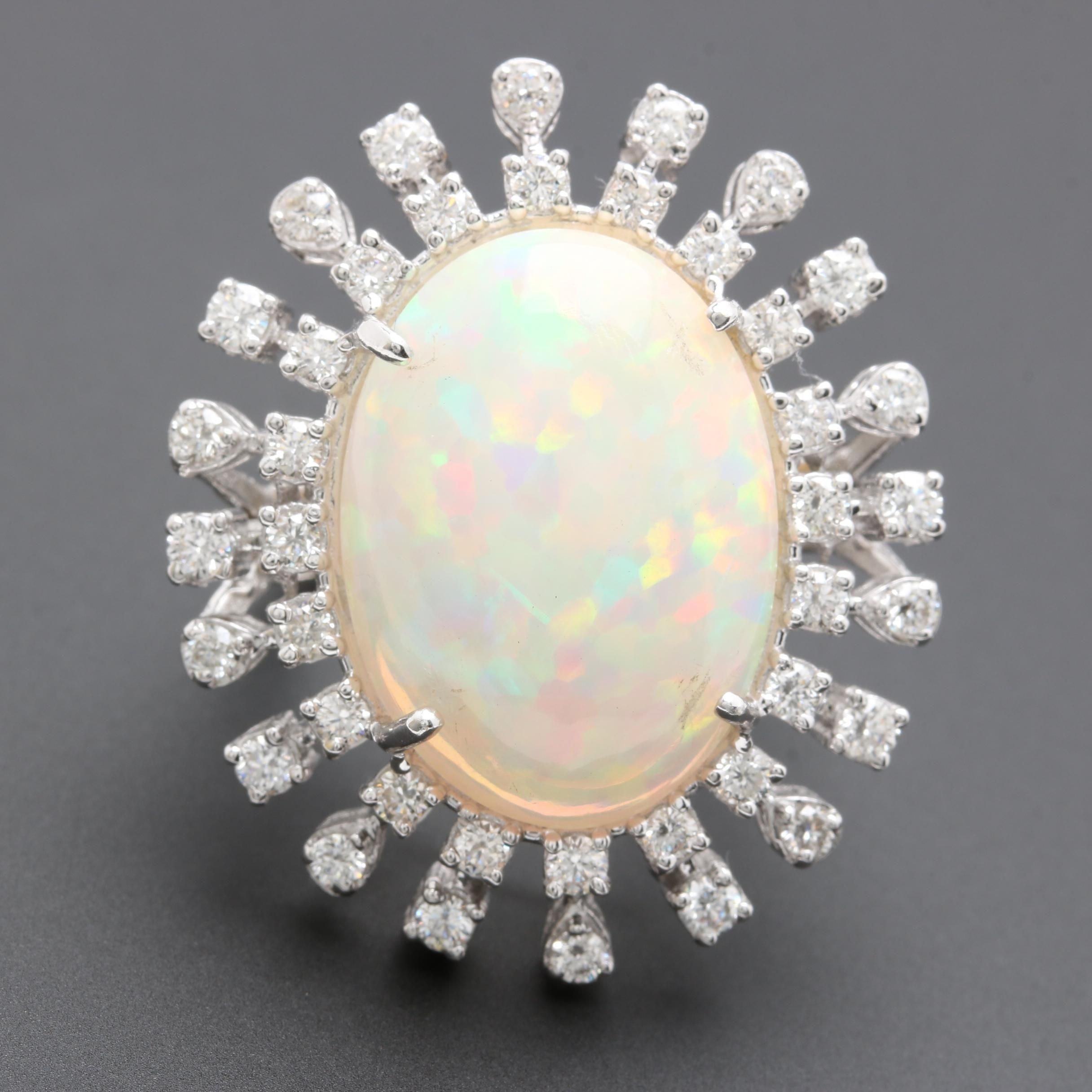 14K White Gold Opal and 1.20 CTW Diamond Ring