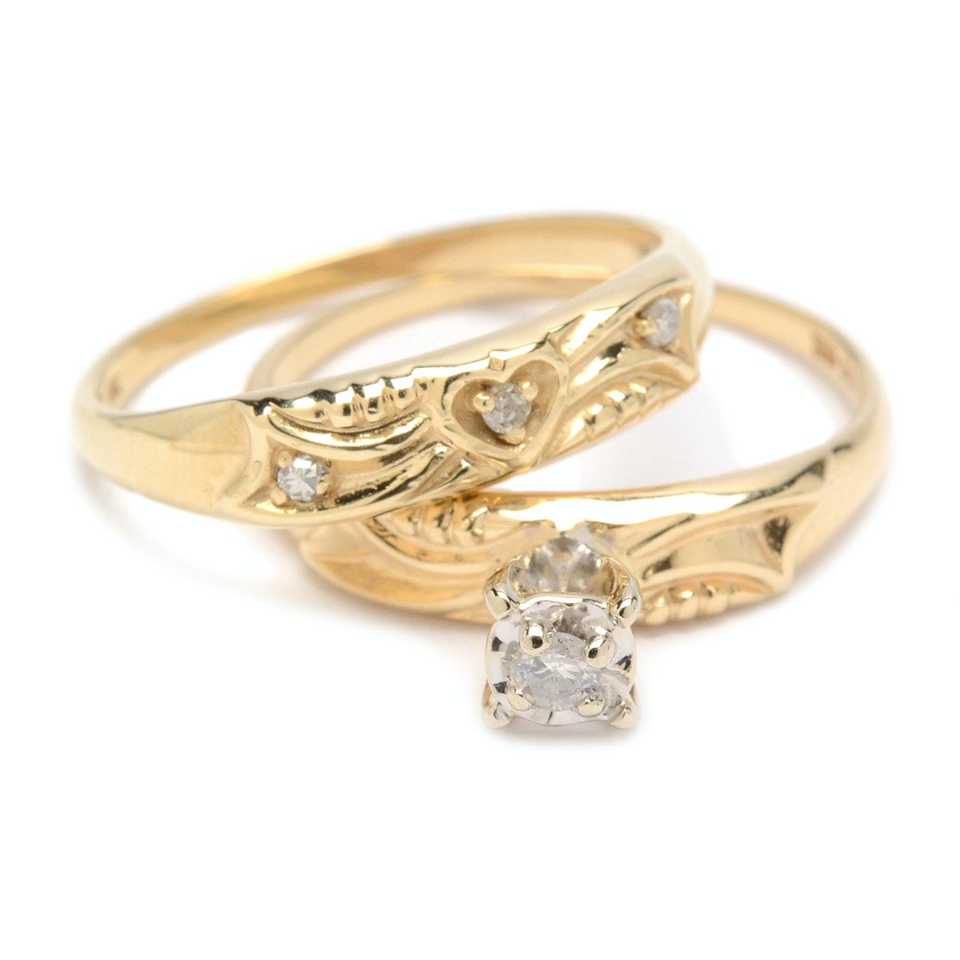 10K Yellow Gold Diamond Bridal Set
