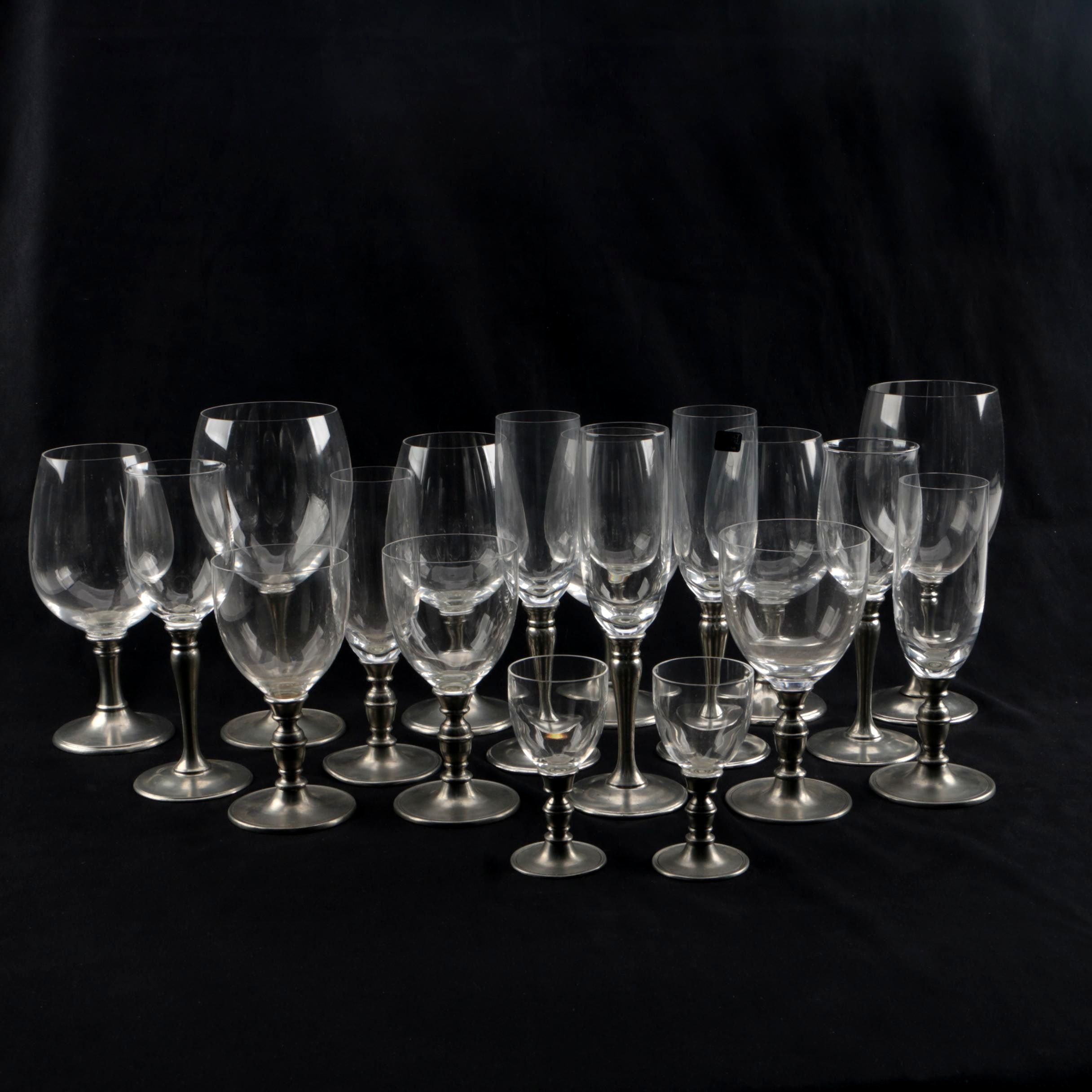 La Bottega del Peltro Pewter and Crystal Stemware