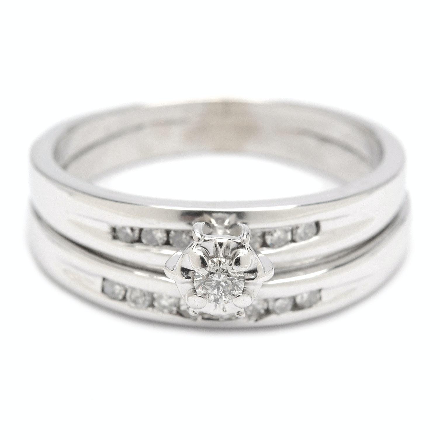 10K White Gold Soldered Diamond Bridal Set