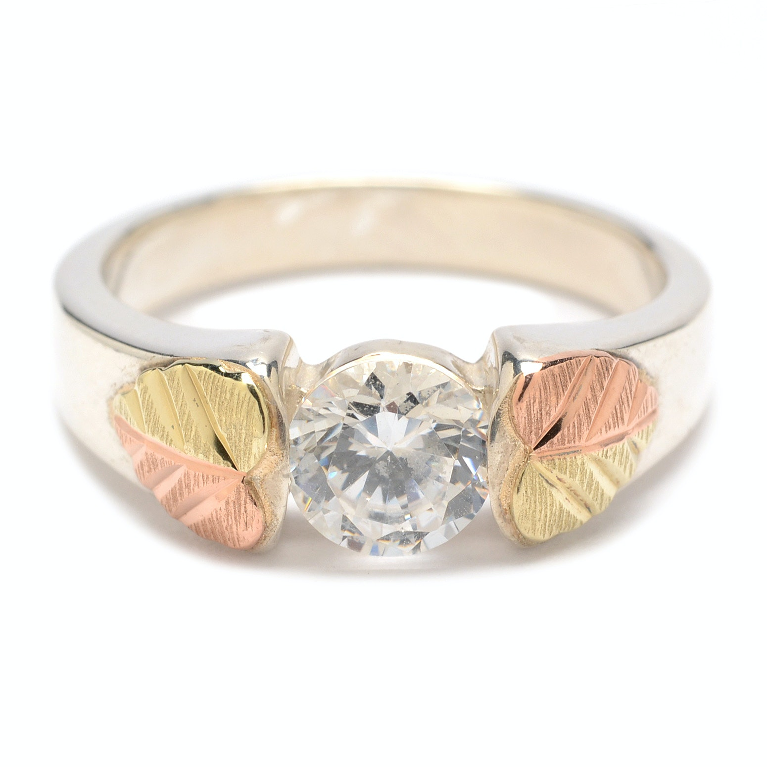 Sterling Silver Cubic Zirconia Ring with 10K Yellow and Rose Gold Accents