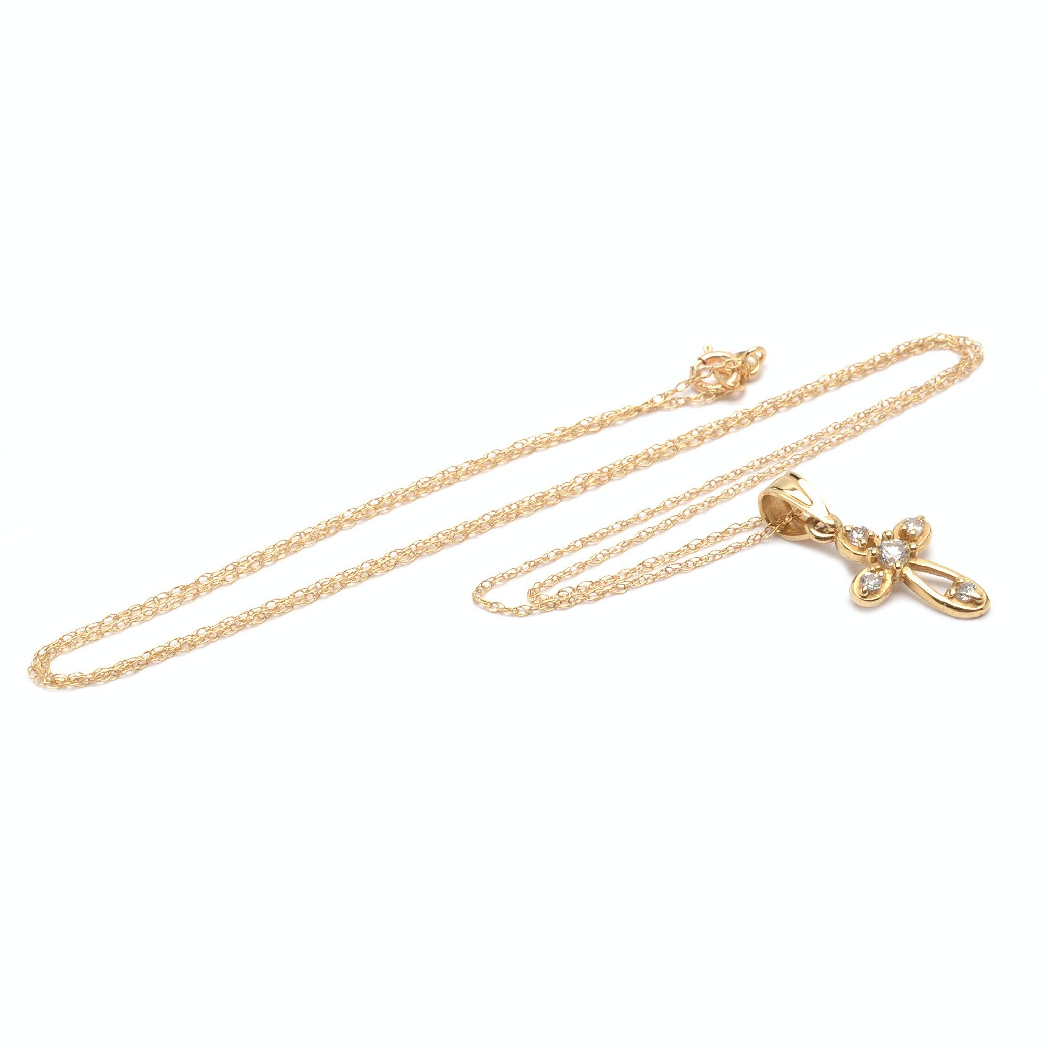 14K and 10K Yellow Gold Cubic Zirconia Cross Pendant Necklace