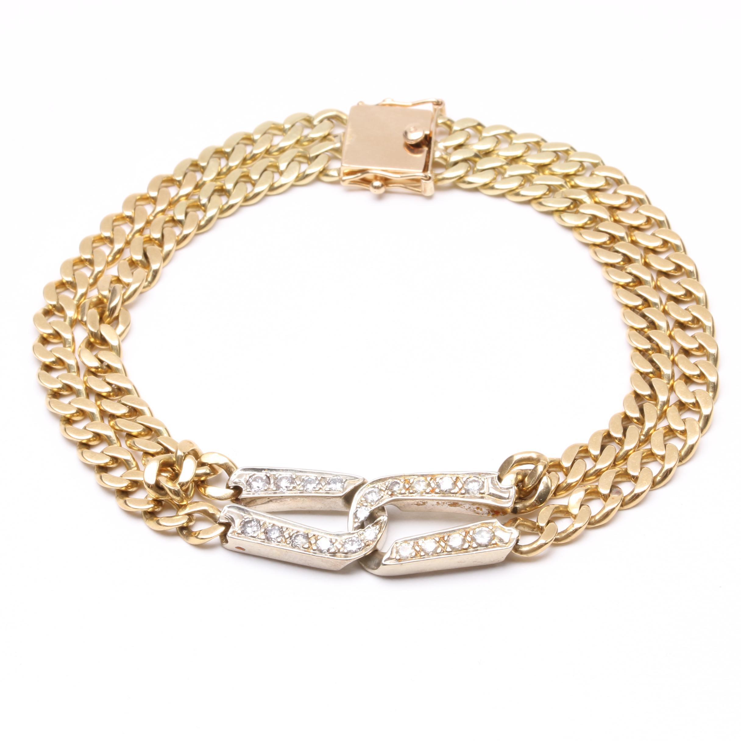 18K Yellow Gold Diamond Bracelet with 14K Clasp