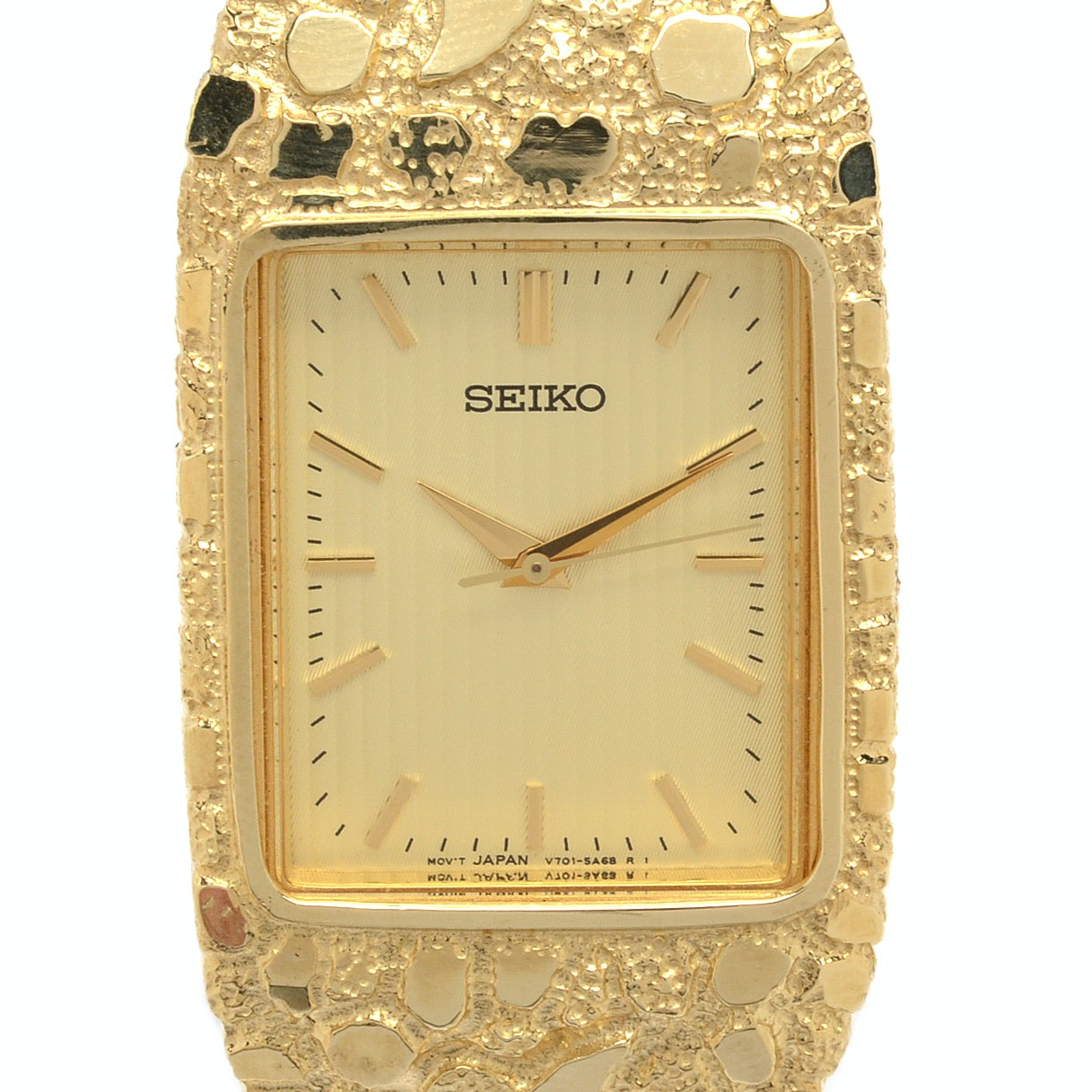 Seiko 10K Yellow Gold Nugget Style Wristwatch