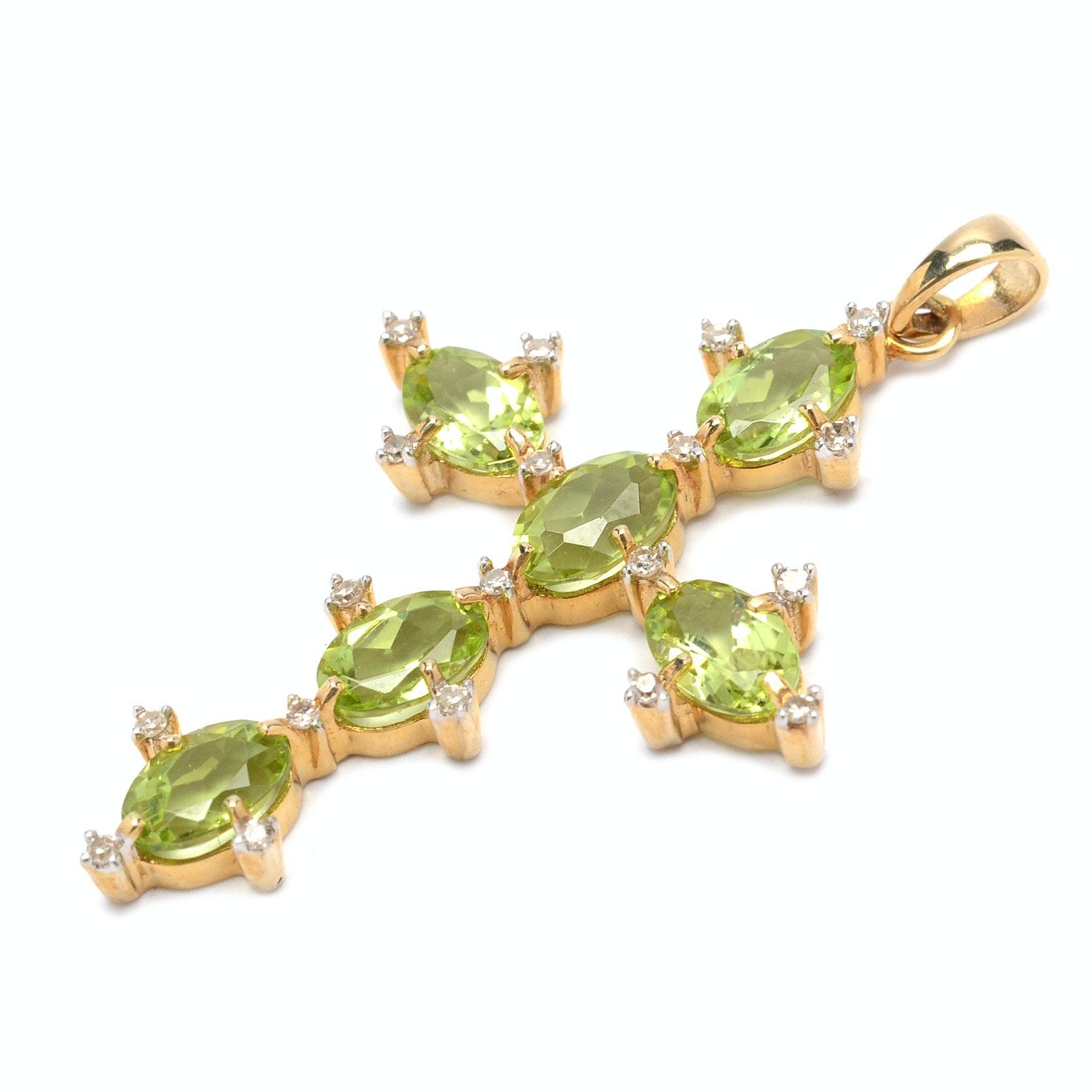 14K Yellow Gold Peridot and Diamond Cross Pendant