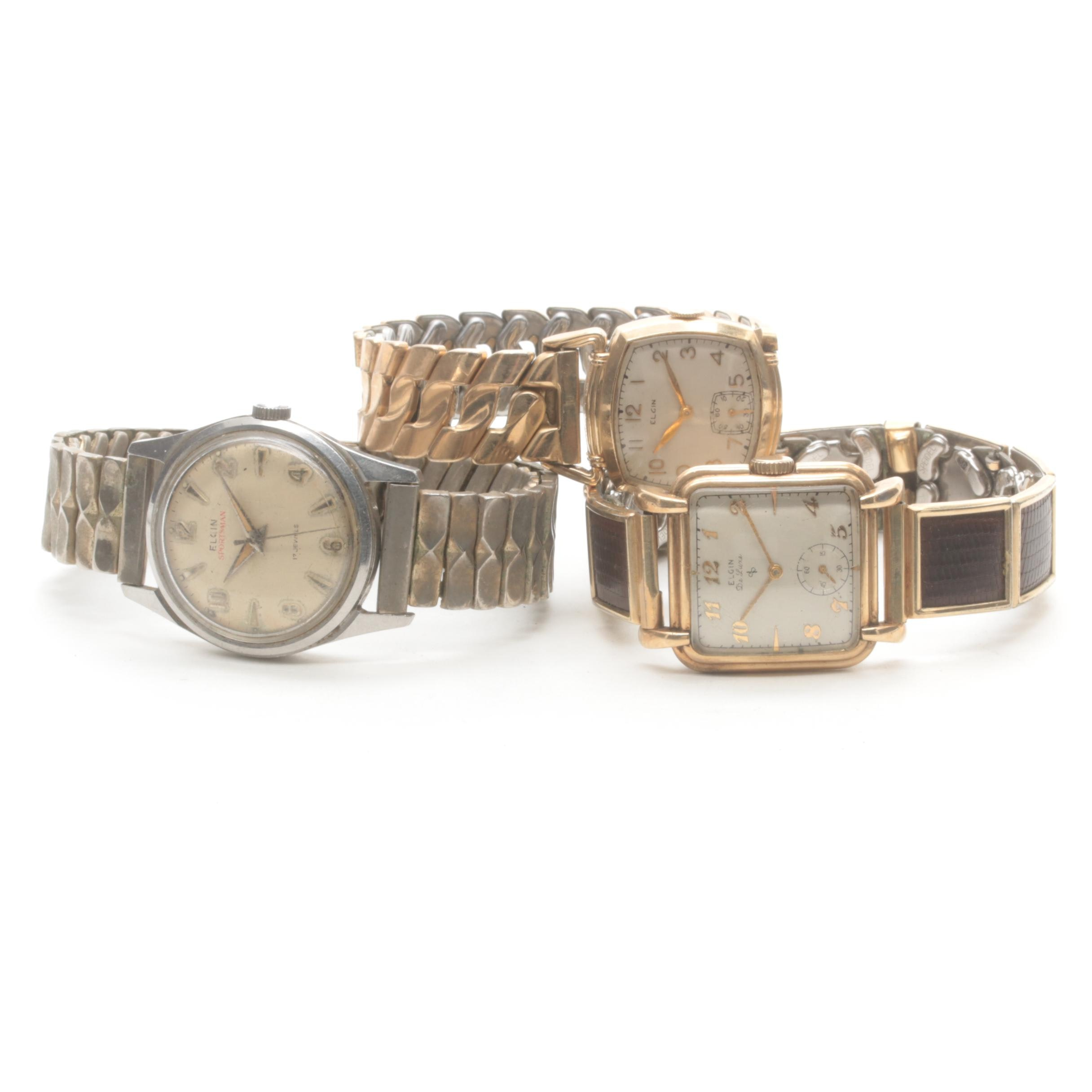 Elgin Wristwatch Selection Including Deluxe and Sportsman