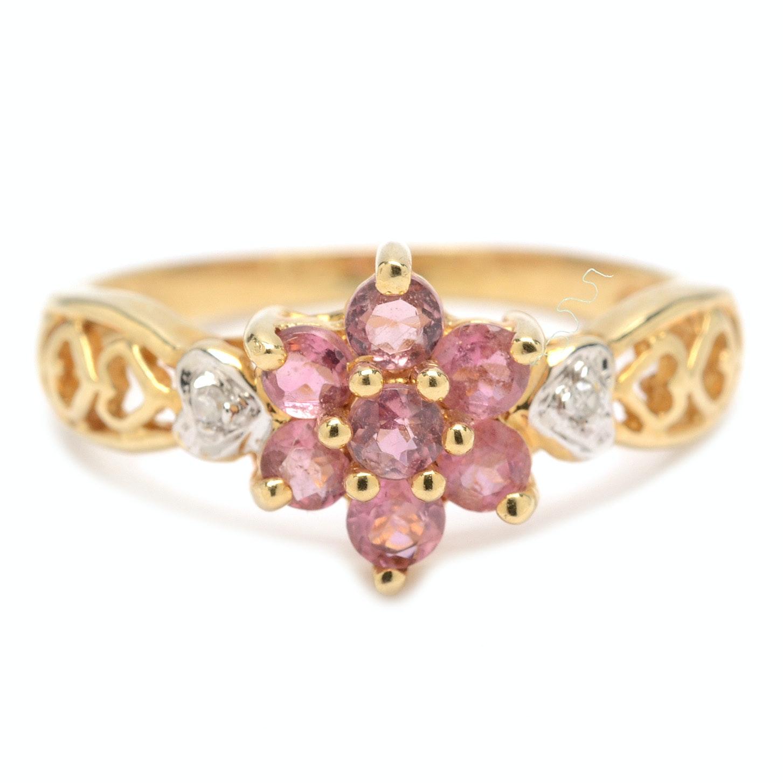 14K Yellow Gold Pink Tourmaline and Diamond Ring