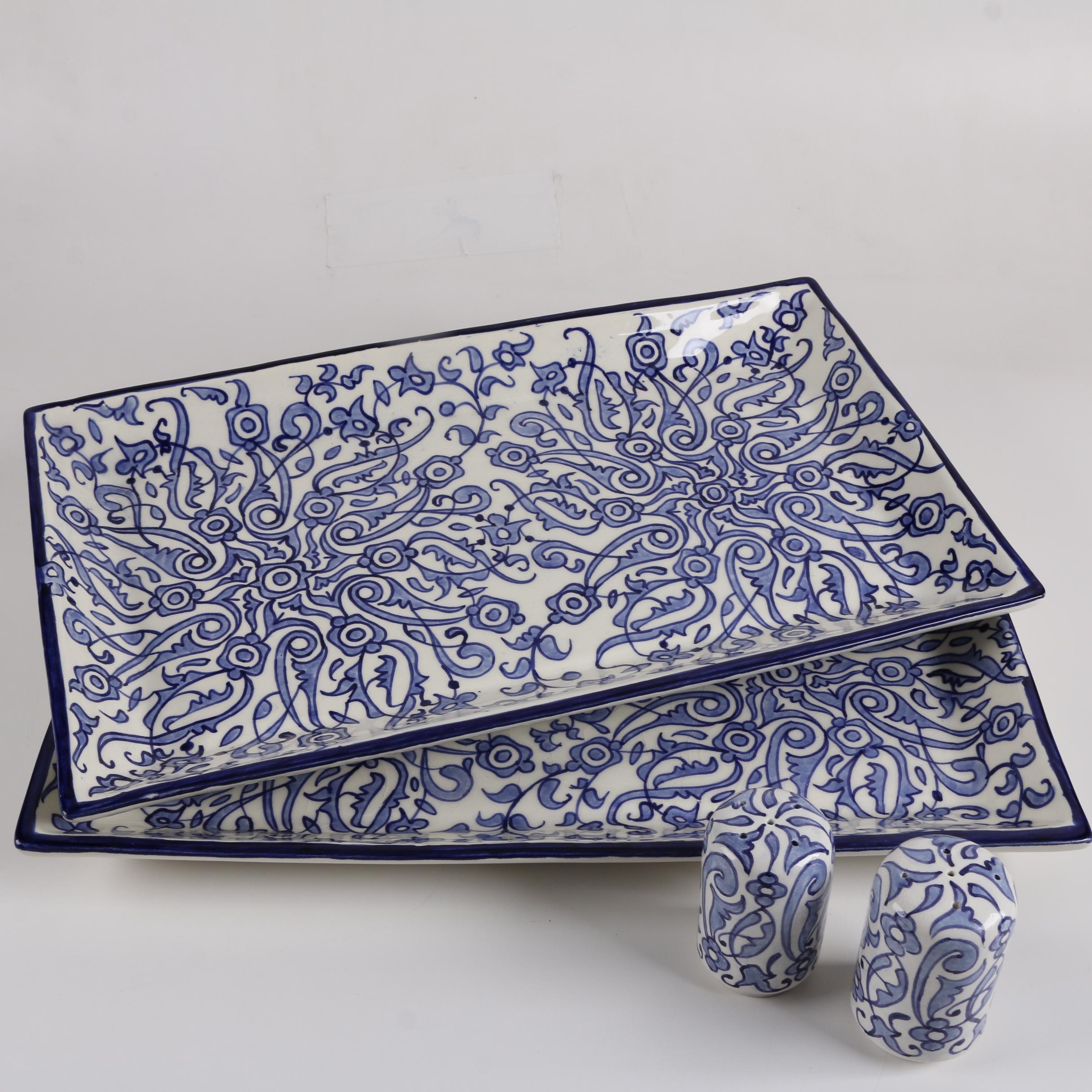 Hand-Painted Moroccan Serving Trays and Shakers