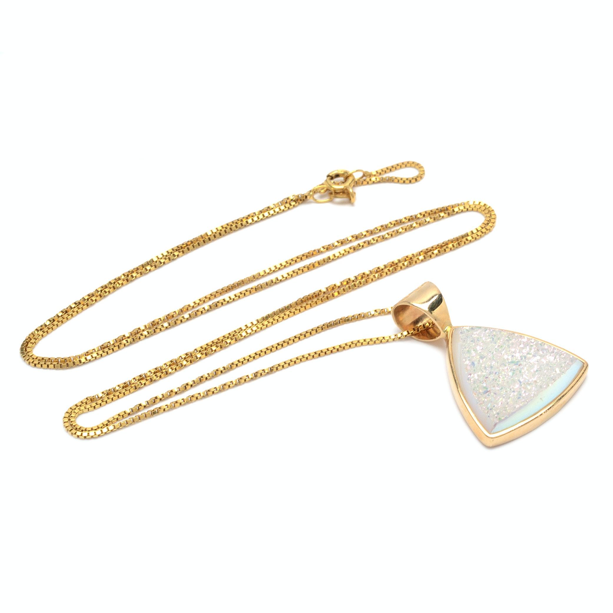 14K Yellow Gold Druzy Pendant Necklace